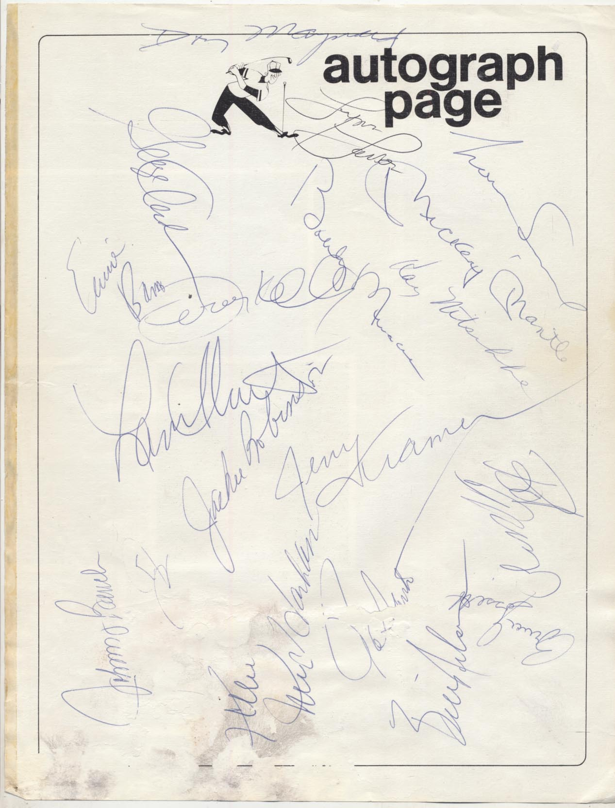 Lot #58  Album Page  Jackie Robinson/Mickey Mantle Signed Page Cond: 9