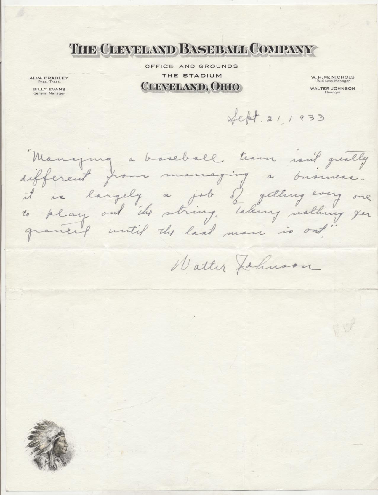 Lot #395  Letter  Johnson, Walter (amazing content) Cond: 9.5