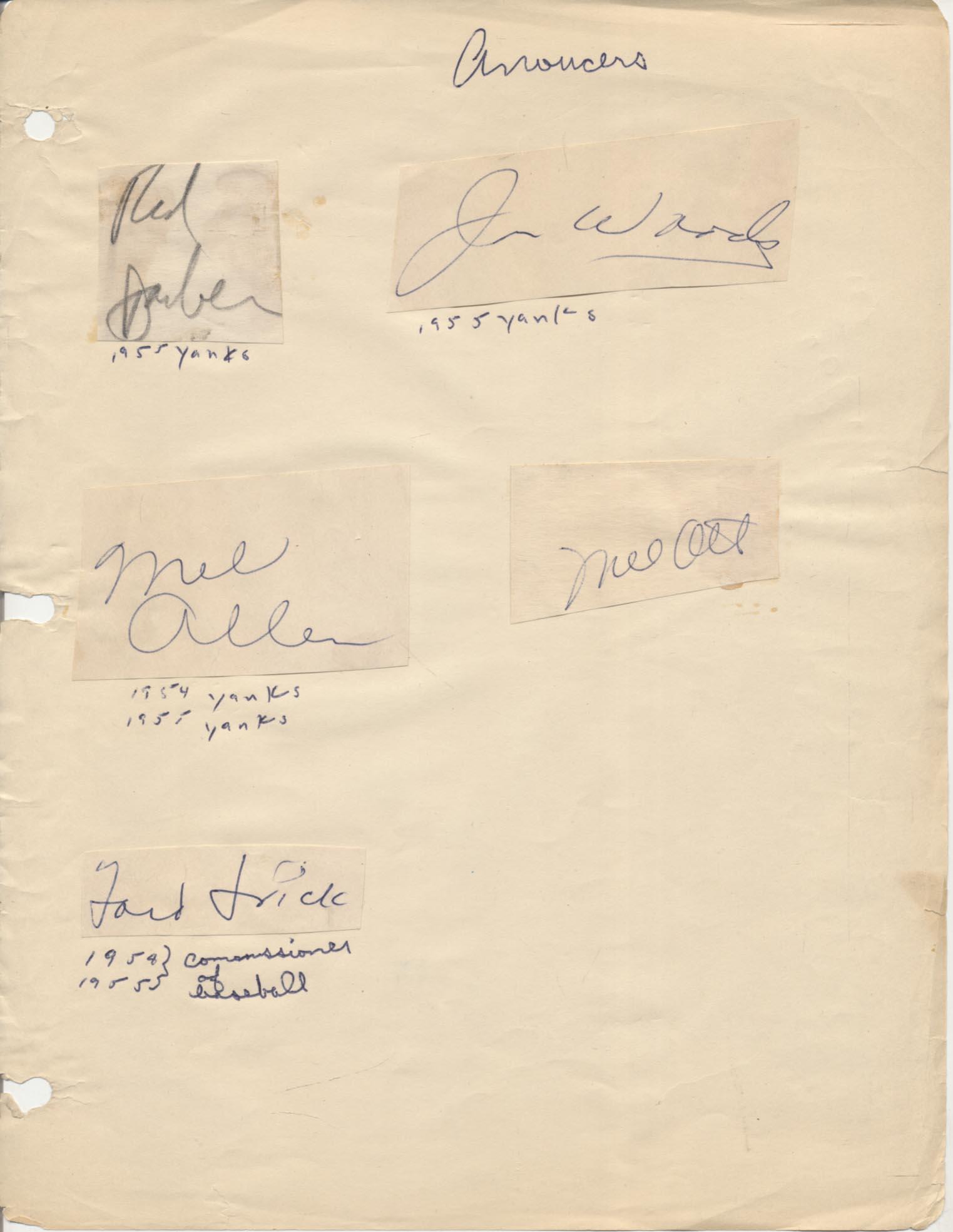 Lot #316  Cut  1955-Era Broadcasters w/Mel Ott (5 sigs) Cond: 9