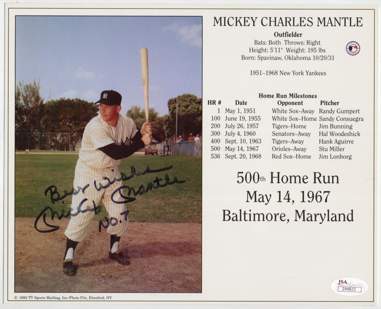 8 x 10  Mantle, Mickey (HOF Induction Card) 9 JSA LOA (FULL)