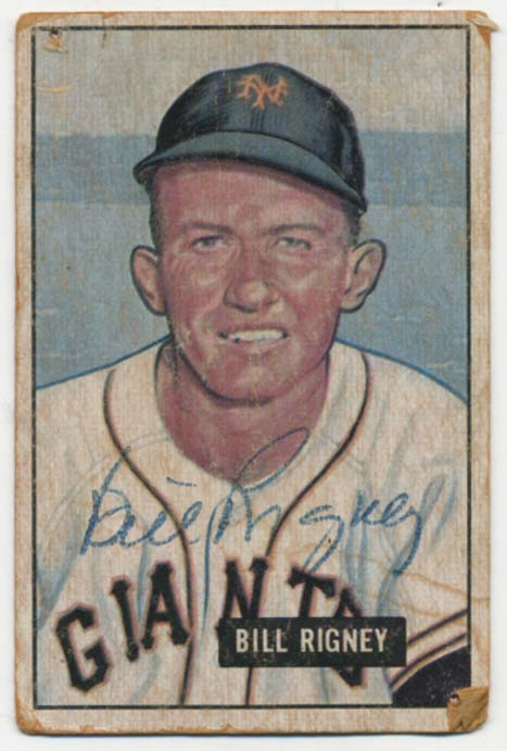 Lot #97 1951 Bowman # 125 Rigney Cond: 7, card weak