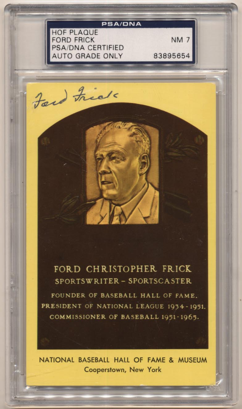 Lot #549  Yellow HOF Plaque  Ford Frick Cond: PSA 7