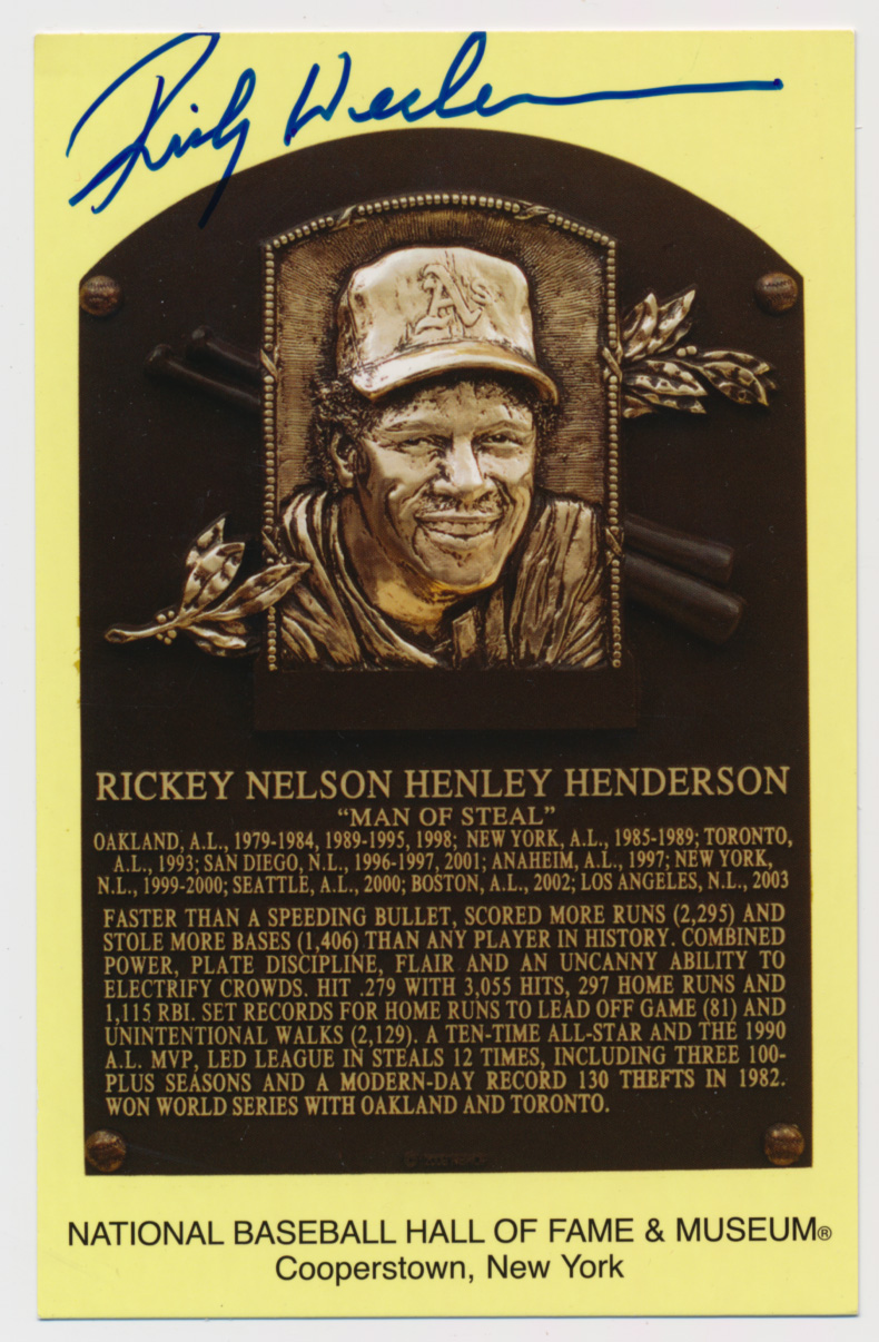 Lot #143  Yellow HOF Plaque # 73 Rickey Henderson Cond: 9.5
