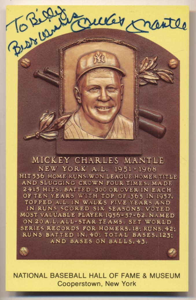 Yellow HOF Plaque 107 Mickey Mantle 9 pers.