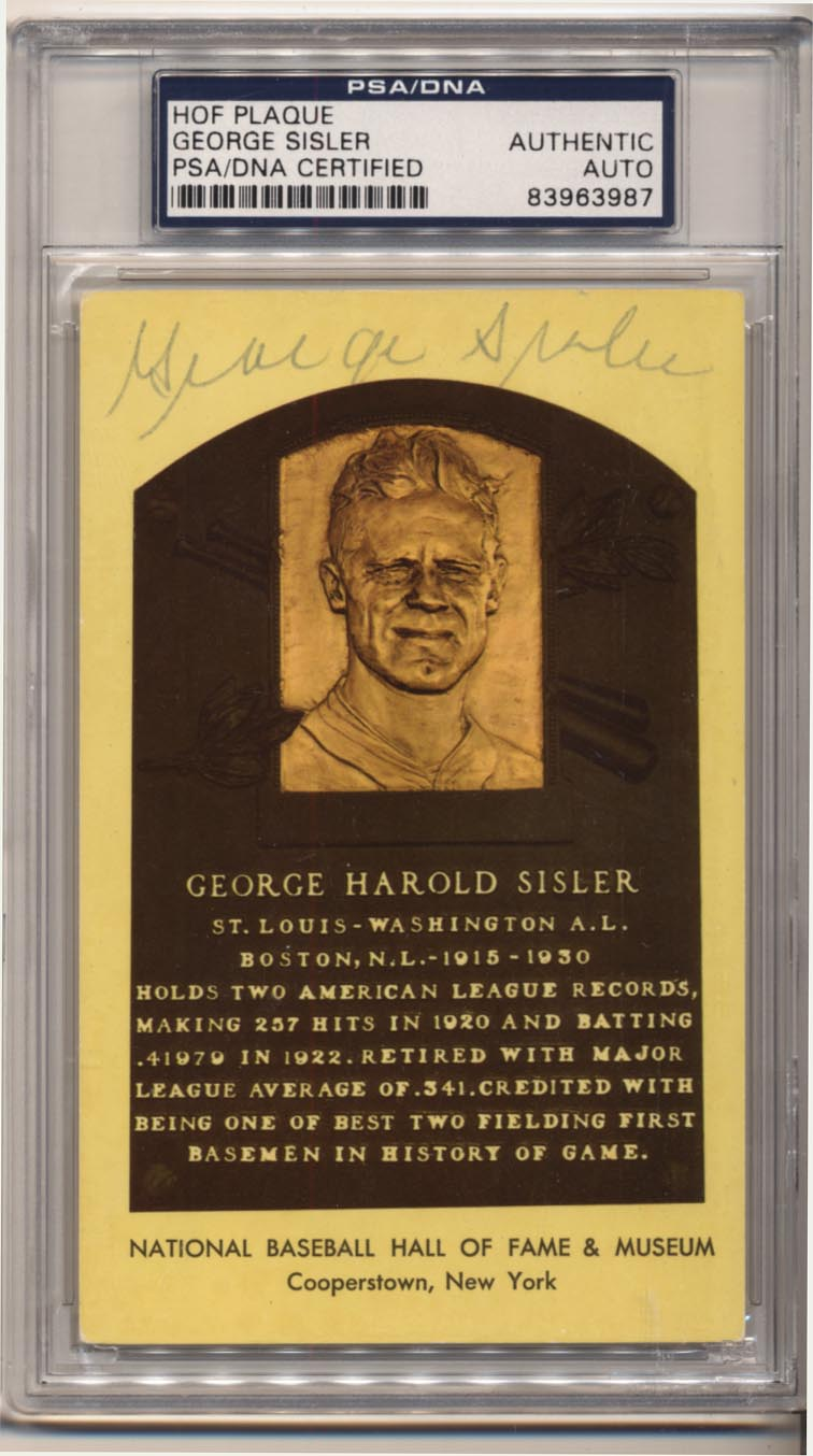 Lot #171  Yellow HOF Plaque # 154 George Sisler Cond: 8 (PSA Slabbed)
