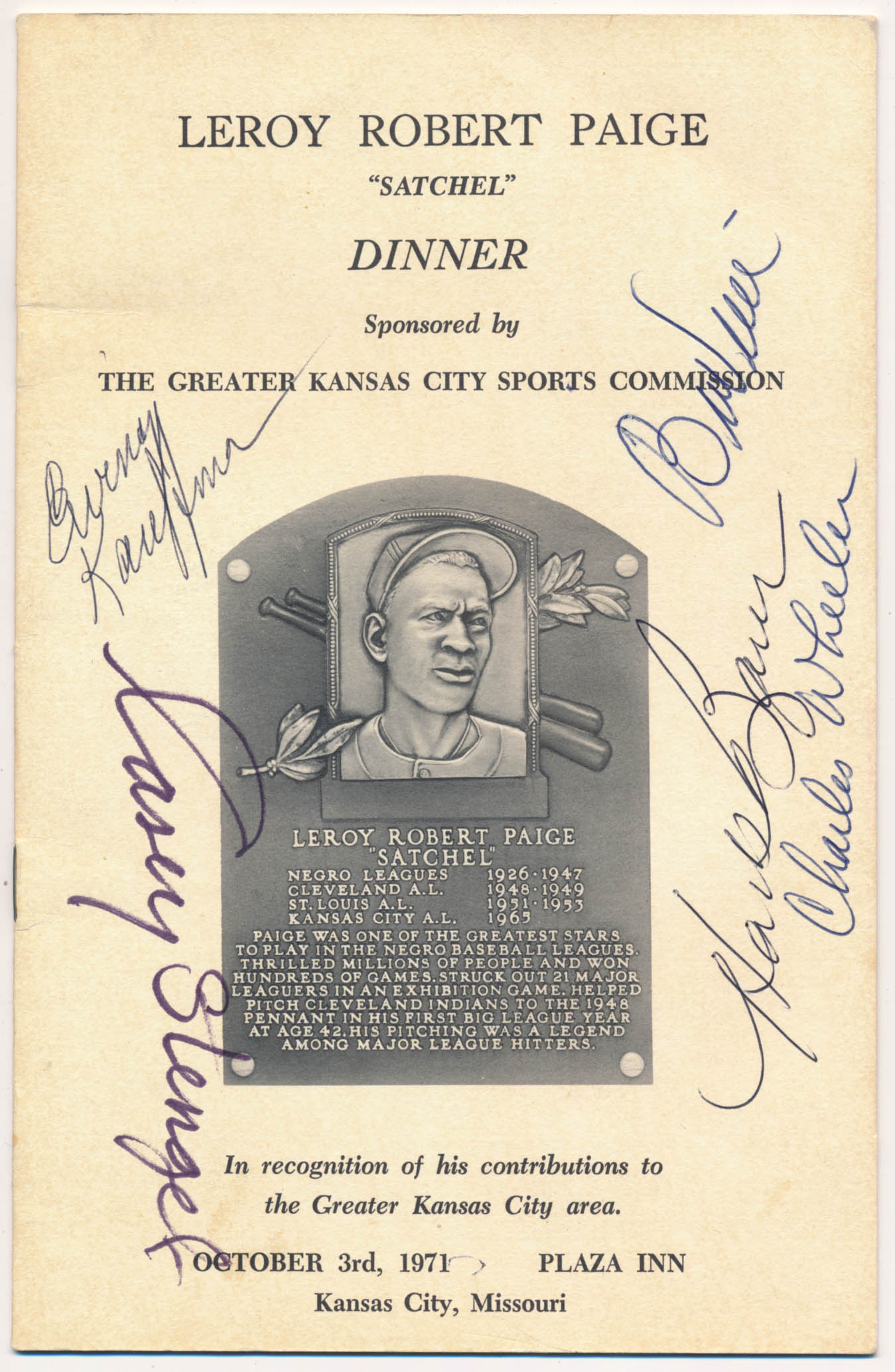 Lot #486  Program  1971 Satchel Paige Dinner Signed Program (5 sigs) Cond: 9.5