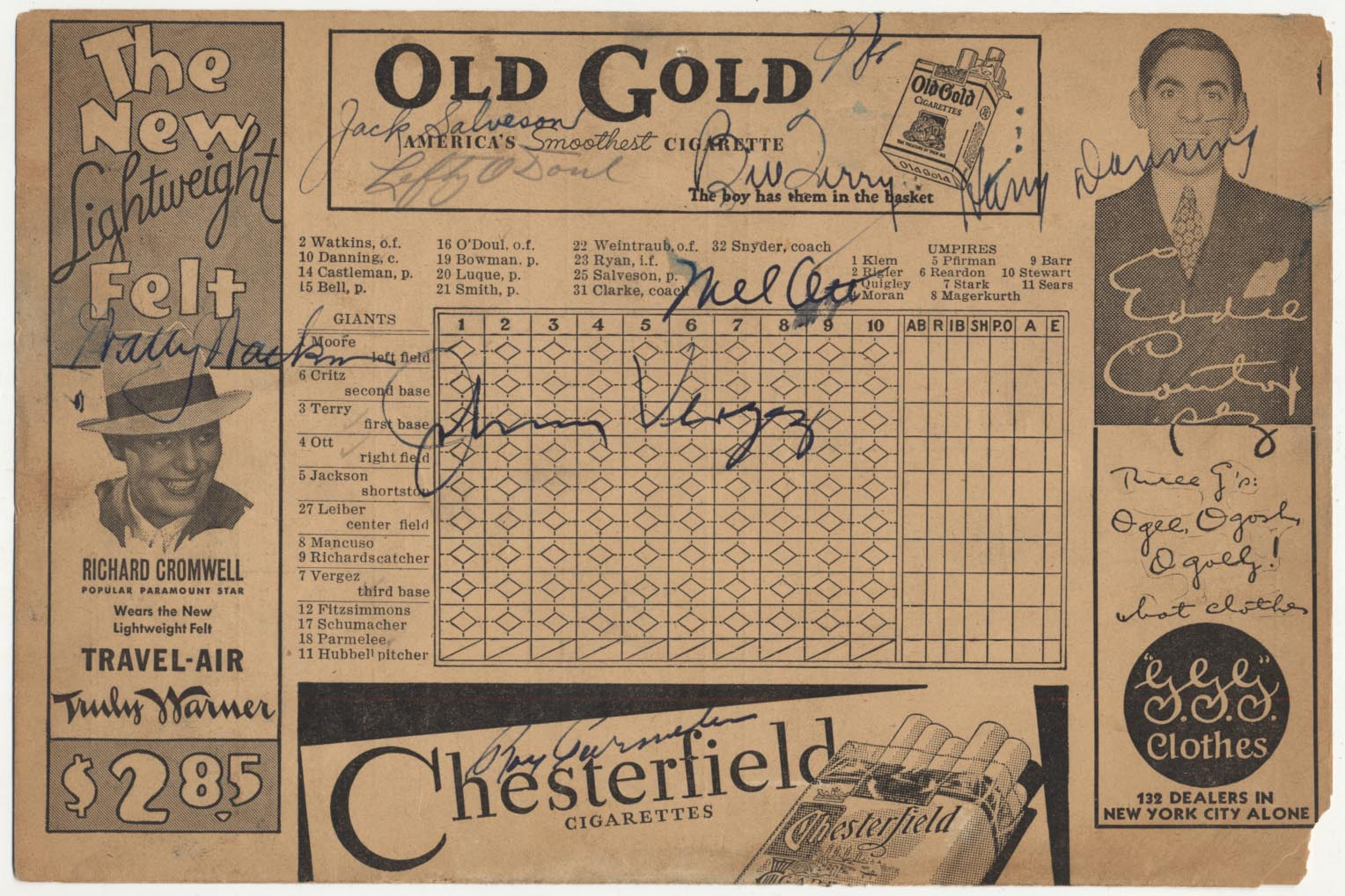 Lot #341  Program  1934 Giants Signed Scorecard w/Mel Ott Cond: 9
