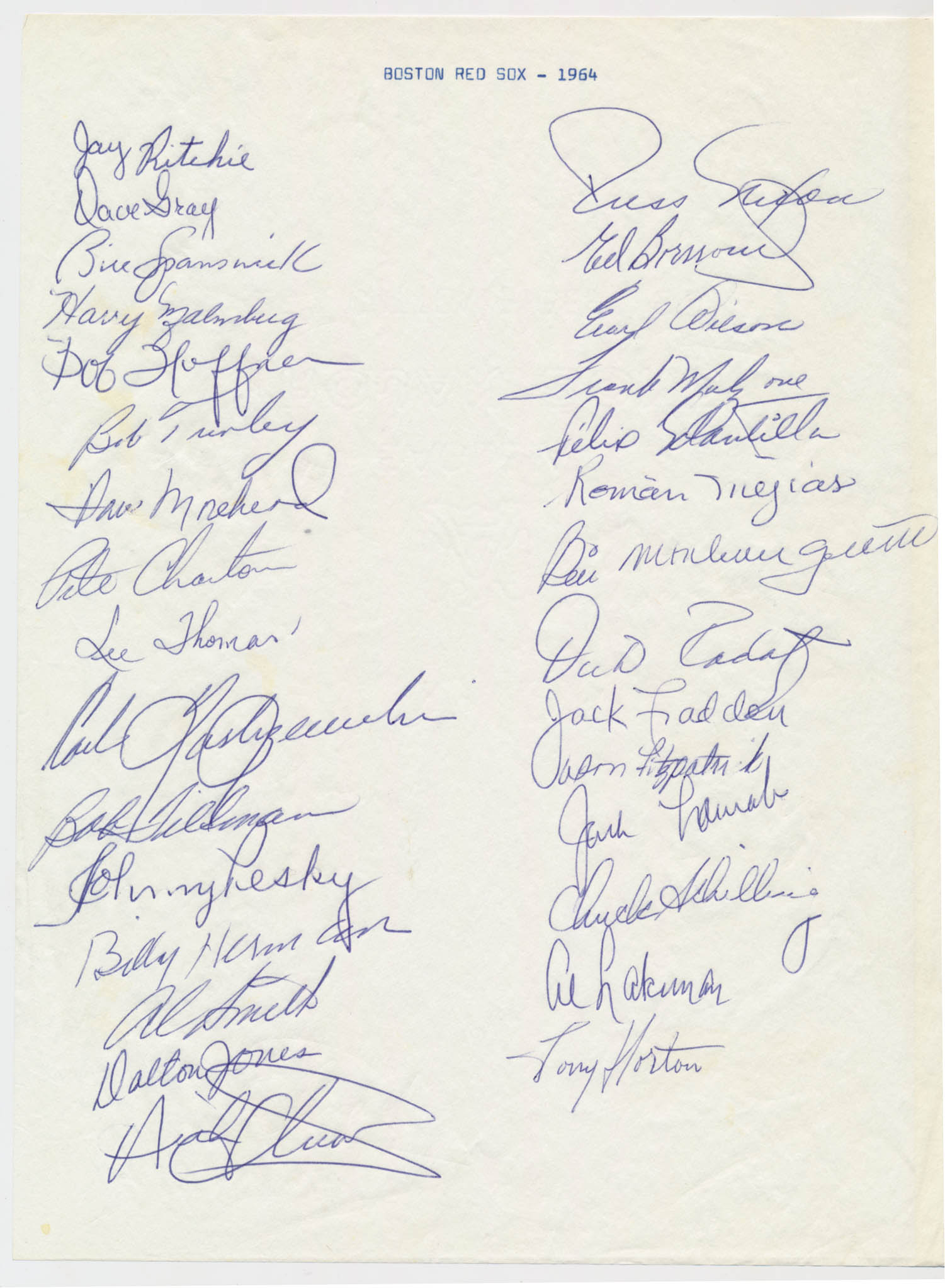 Team Sheet  1964 Red Sox (30 sigs) 9.5