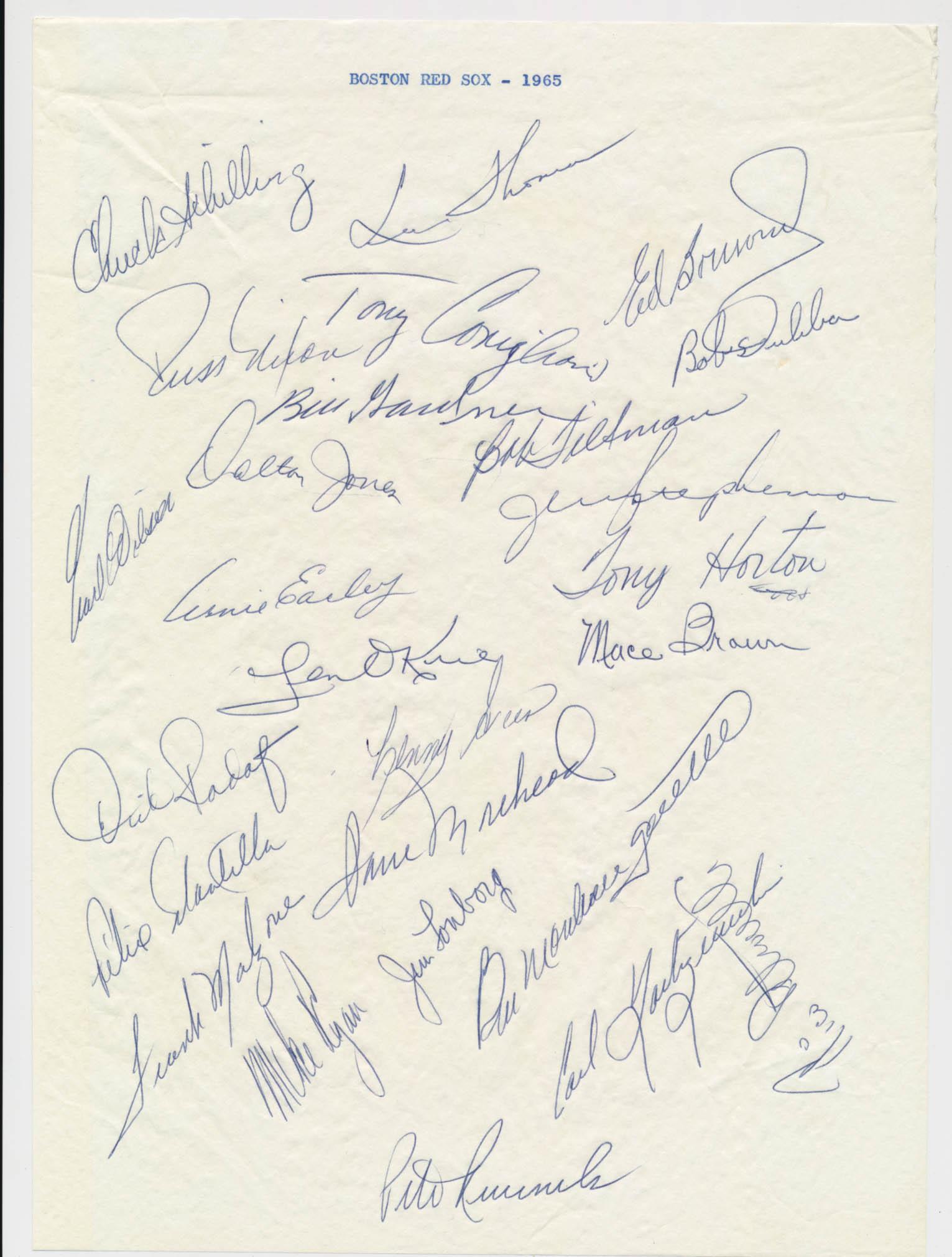 Team Sheet  1965 Red Sox (27 sigs) w/Yaz & Tony C 9.5