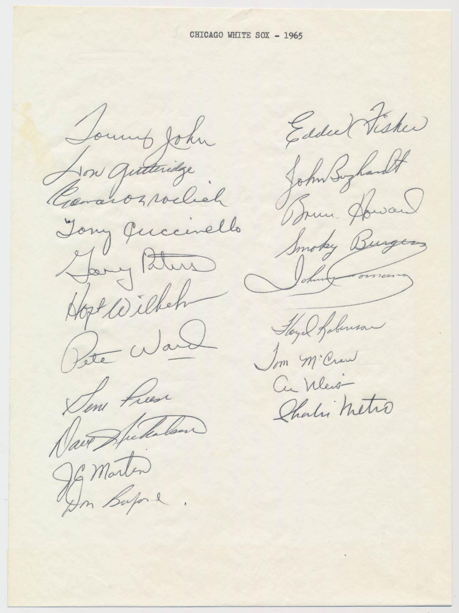 Team Sheet  1965 White Sox (20 sigs) 9.5