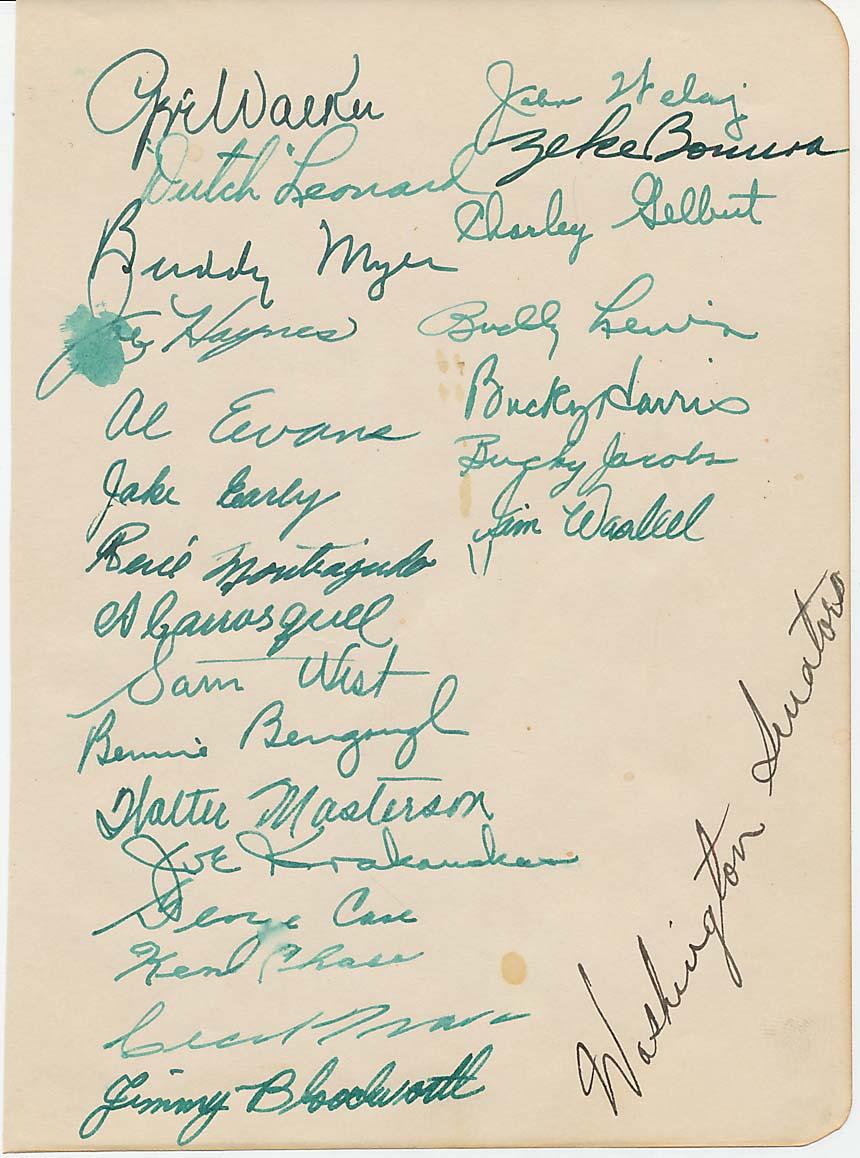 Lot #507  Team Sheet  1940 Washington Senators Cond: 9.5