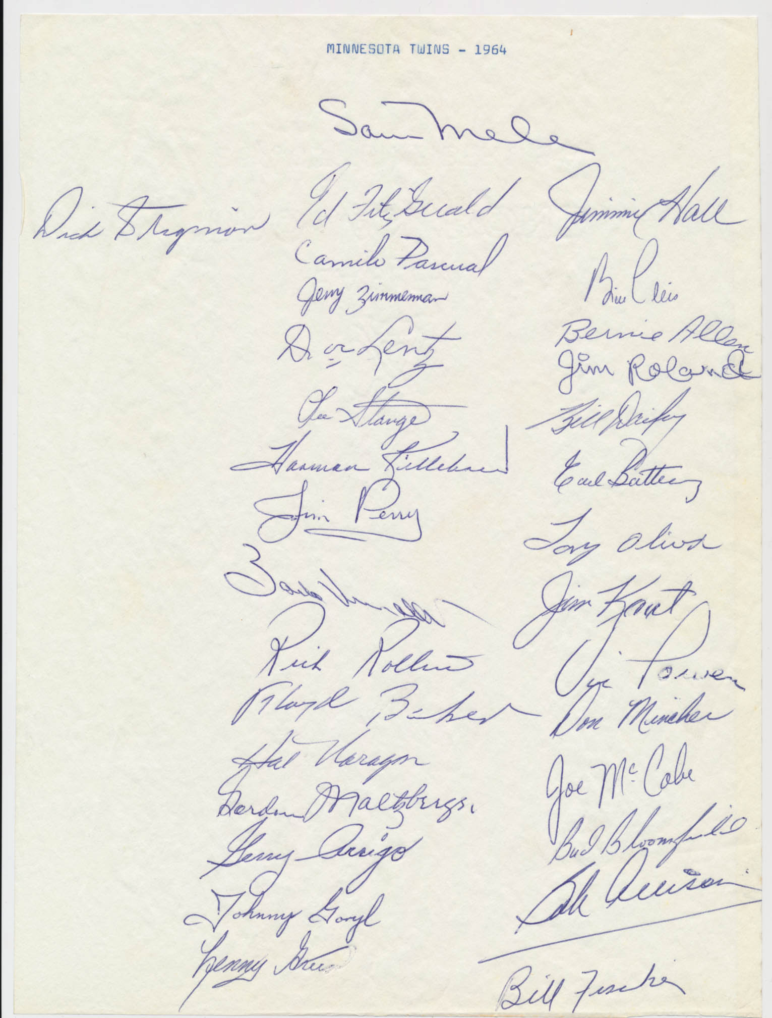 Team Sheet  1964 Twins (31 sigs) 9.5
