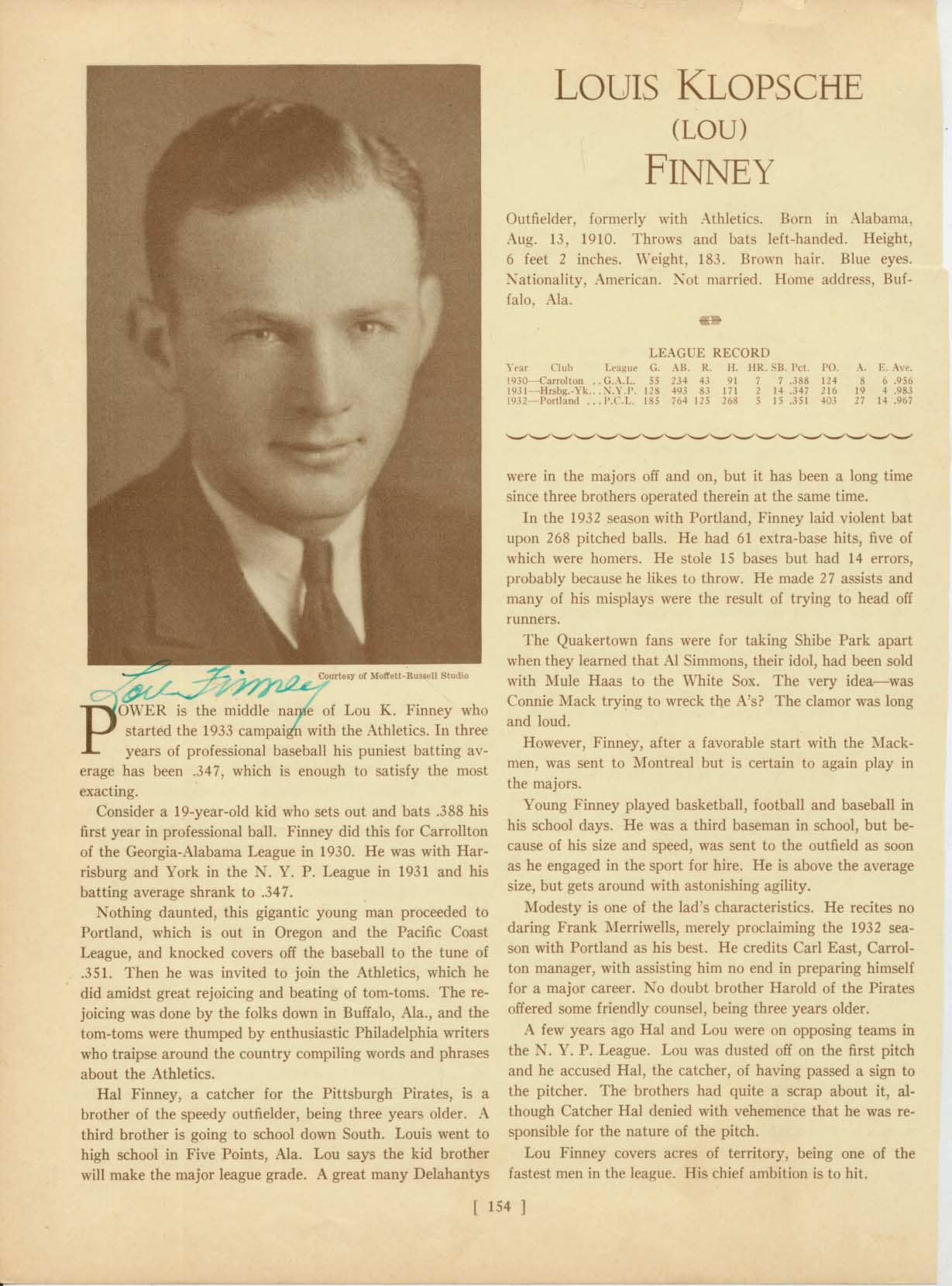 Lot #15  Who's Who Page  Finney, Lou Cond: 9
