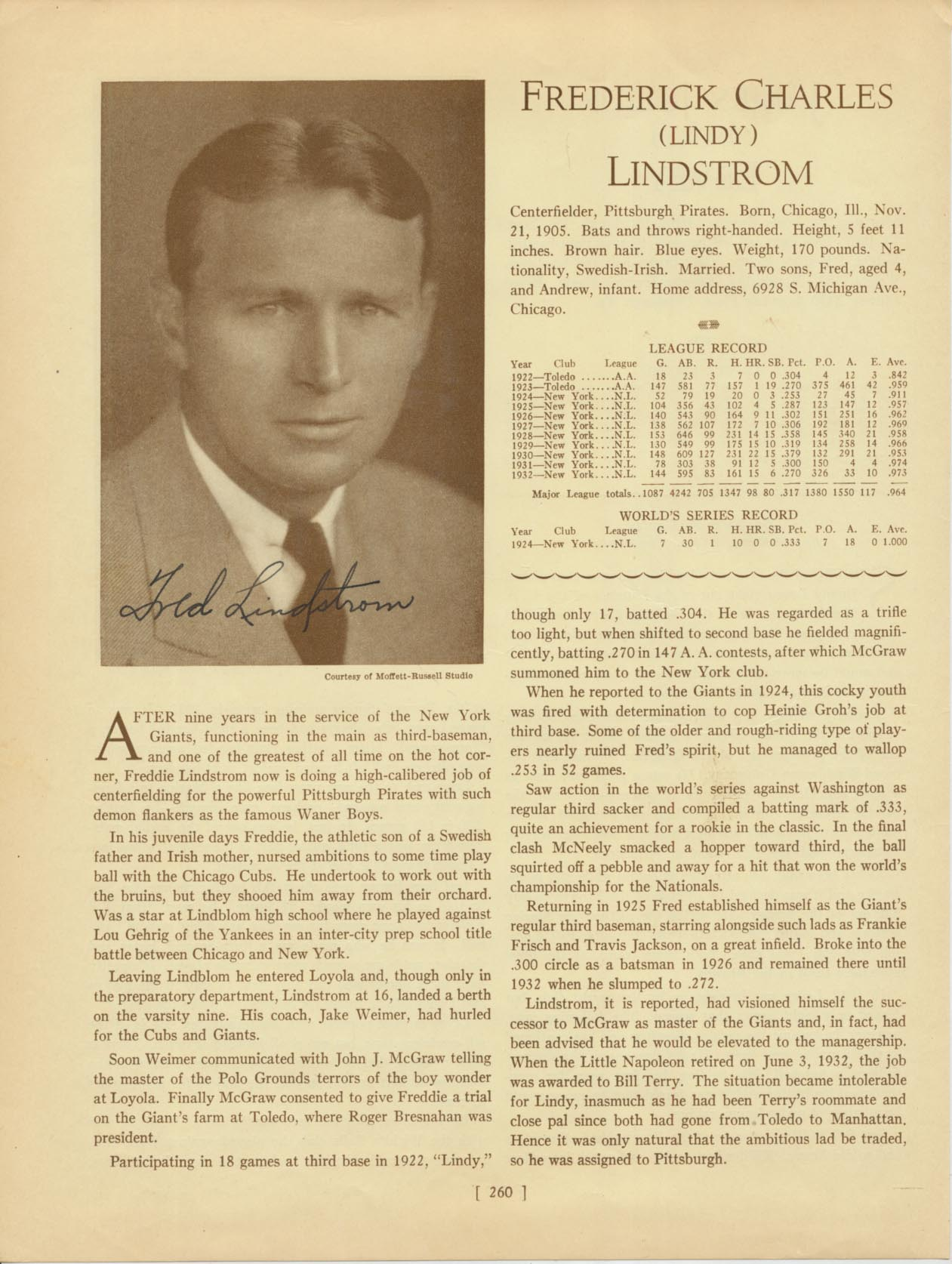 Lot #25  Who's Who Page  Lindstrom, Fred Cond: 9.5