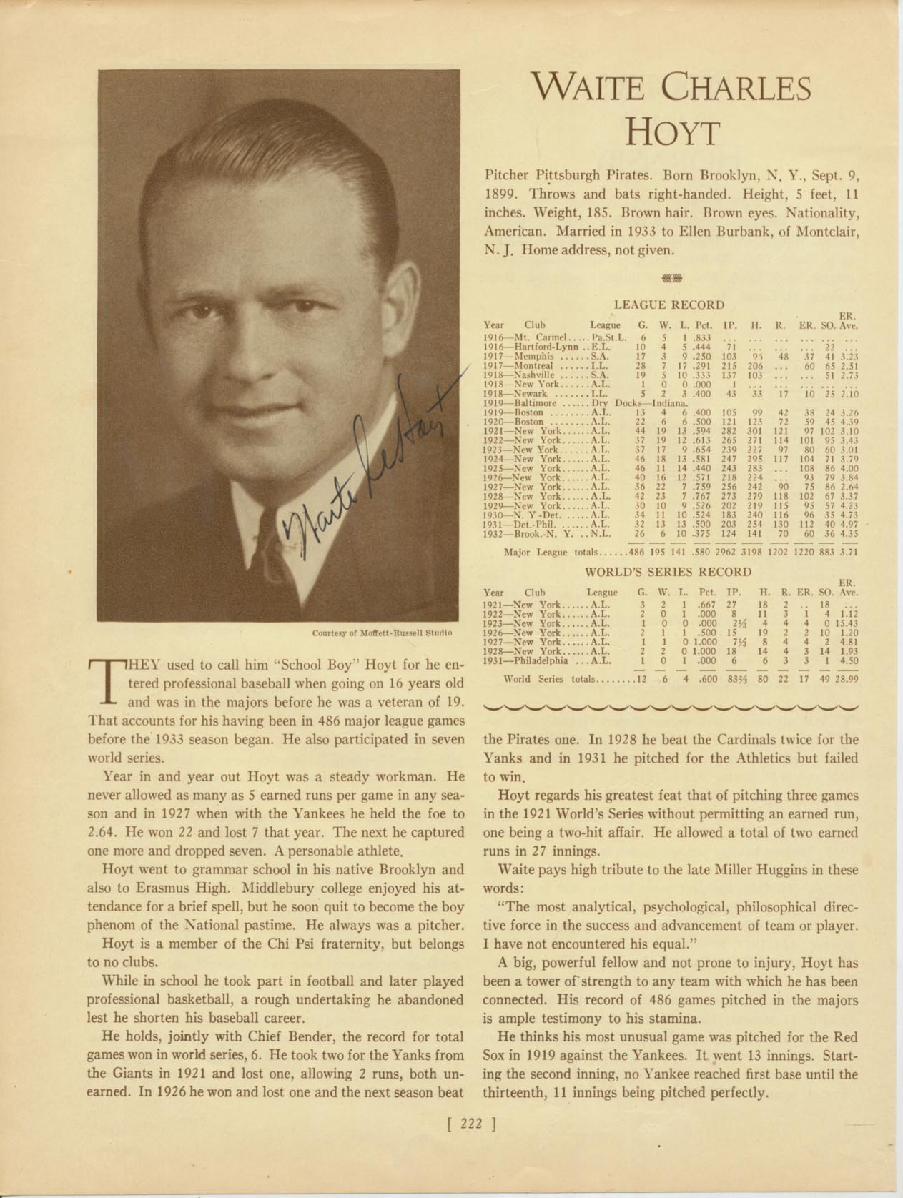 Lot #20  Who's Who Page  Hoyt, Waite Cond: 9.5
