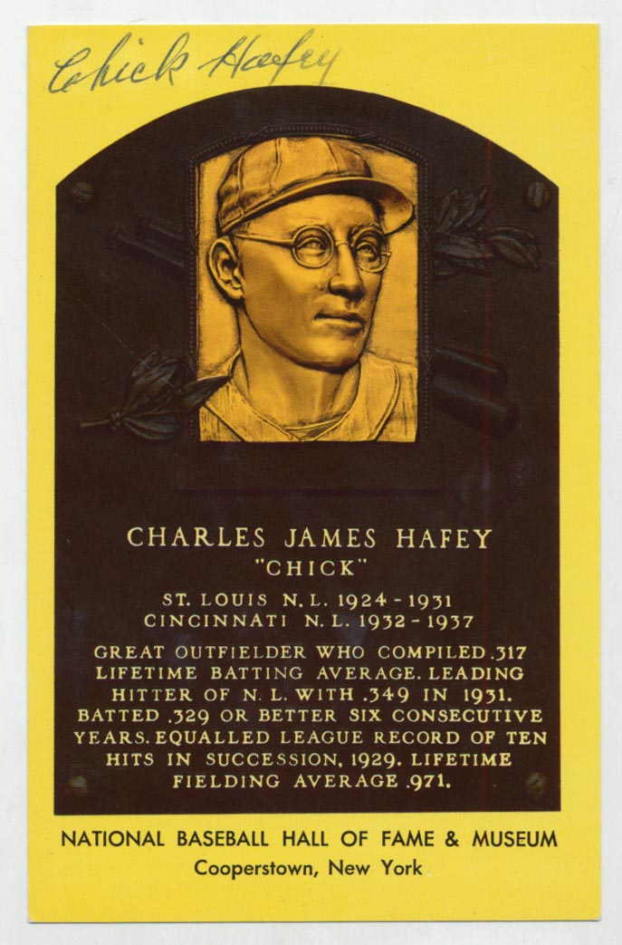 Lot #67  Yellow HOF Plaque  Chick Hafey Cond: 9