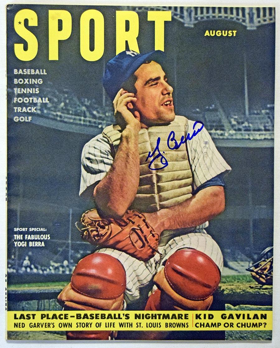 Lot #490  Program  Berra, Yogi Signed Aug 1951 Sport Magazine (JSA LOAA) Cond: 9