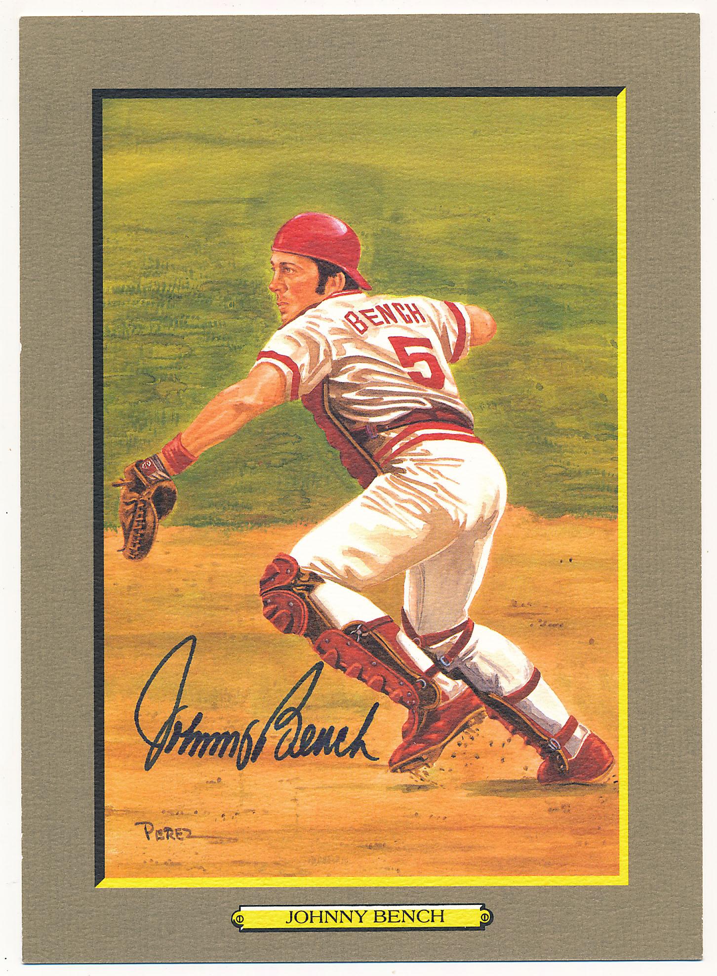 Lot #127 1985 Perez Steele Greatest Moments # 49 Johnny Bench (JSA LOAA) Cond: 9.5