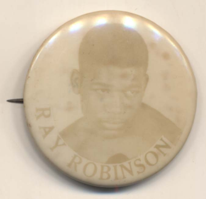 Lot #1008 1950    Scarce Ray Robinson 1 1/4 Inch Pinback Cond: Ex-Mt