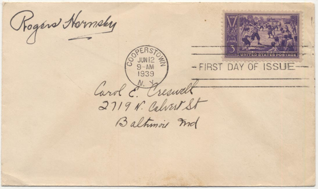 Lot #83  Cachet  Hornsby, Rogers Signed 1939 Envelope Cond: 9.5