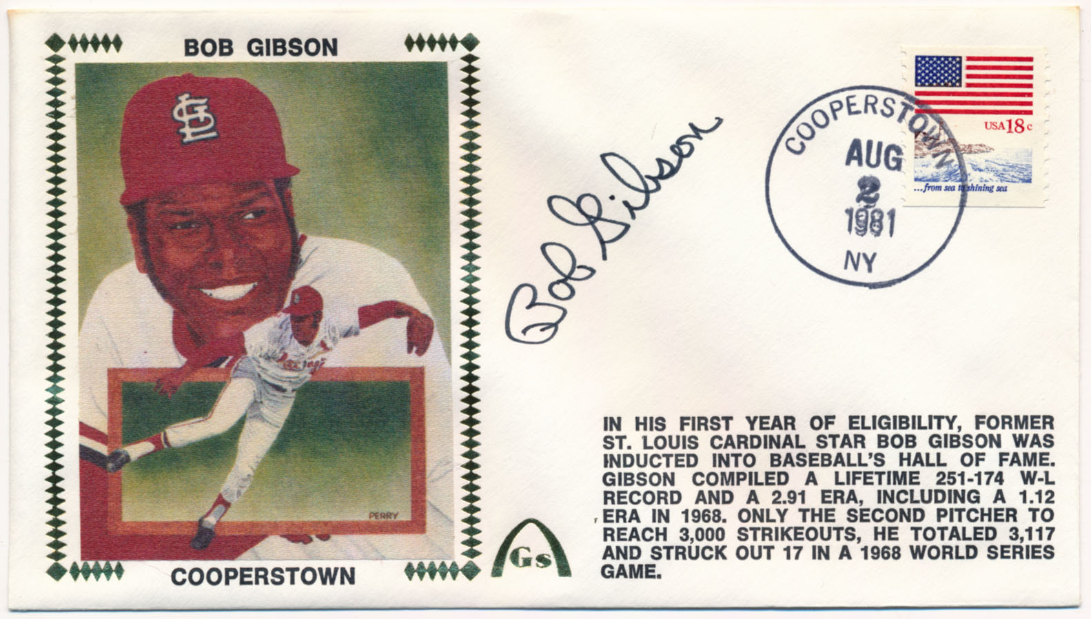 Lot #215  Cachet  Gibson (8/2/81) Cond: 9.5