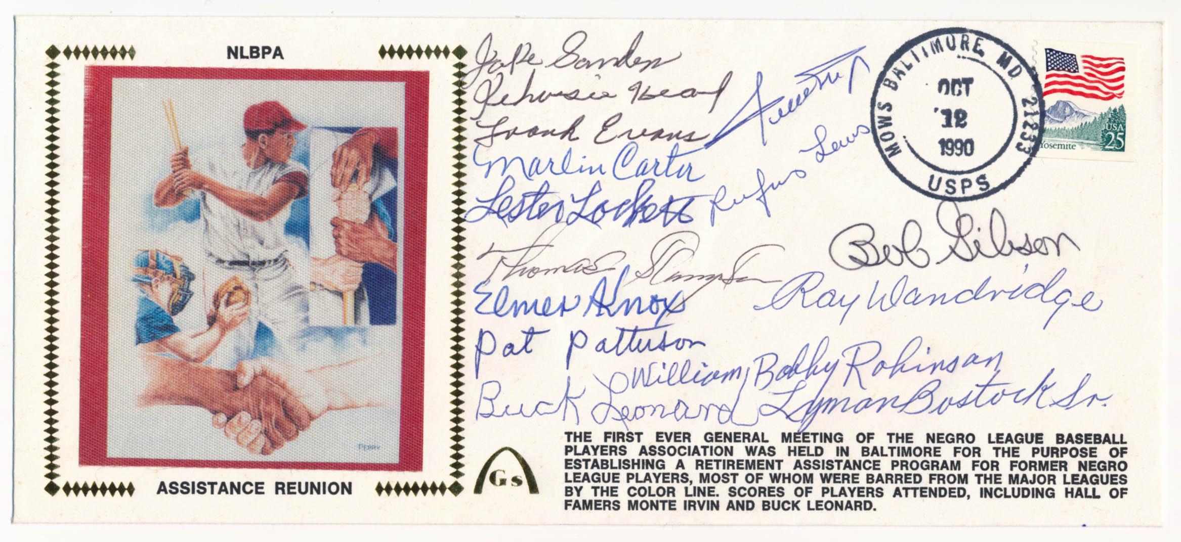 Lot #492  Cachet  1990 Negro Leauers Signed Cachet (17 sigs) Cond: 9.5