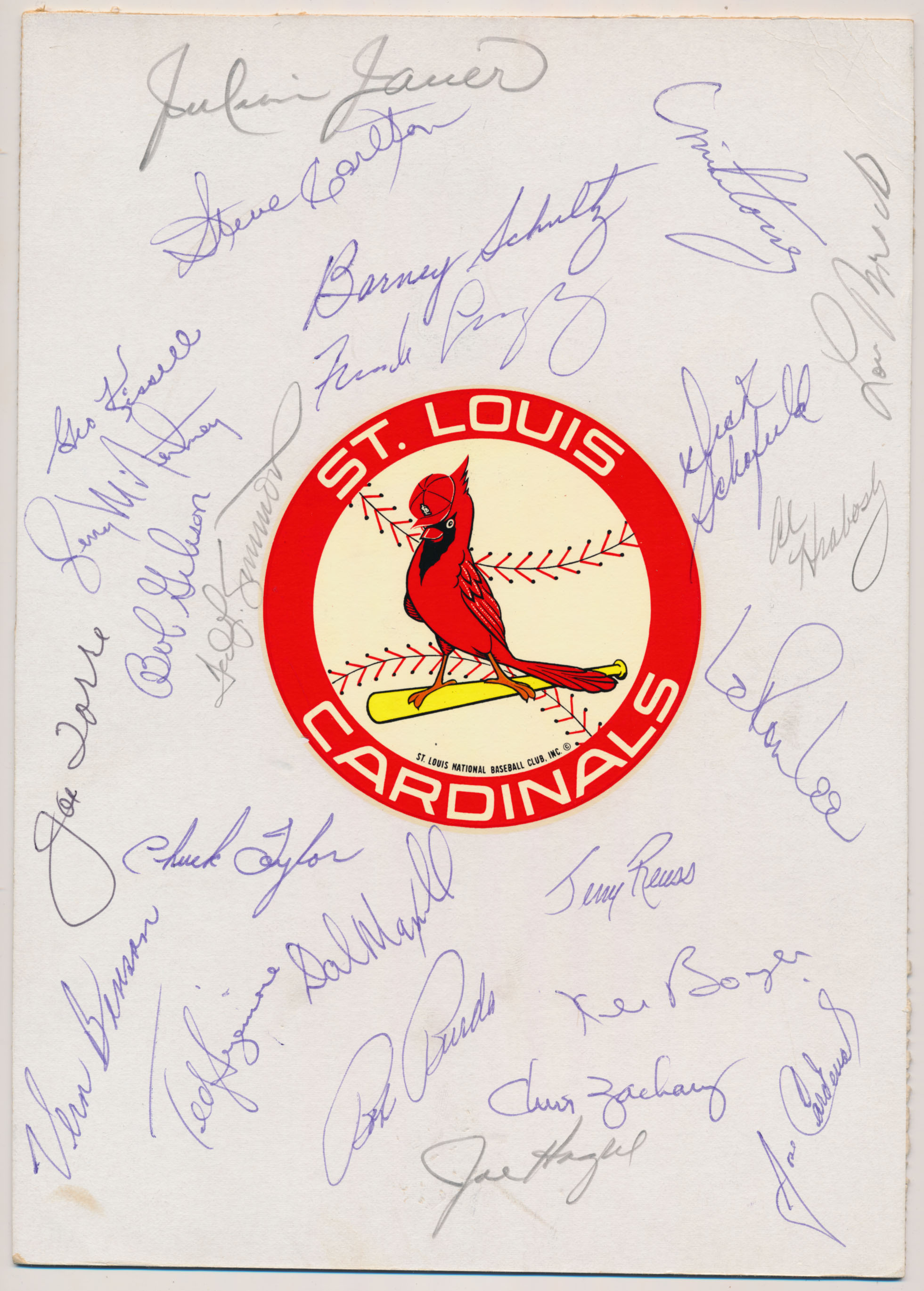 Lot #622  Team Sheet  1971 Cardinals (24 sigs, loaded) Cond: 9