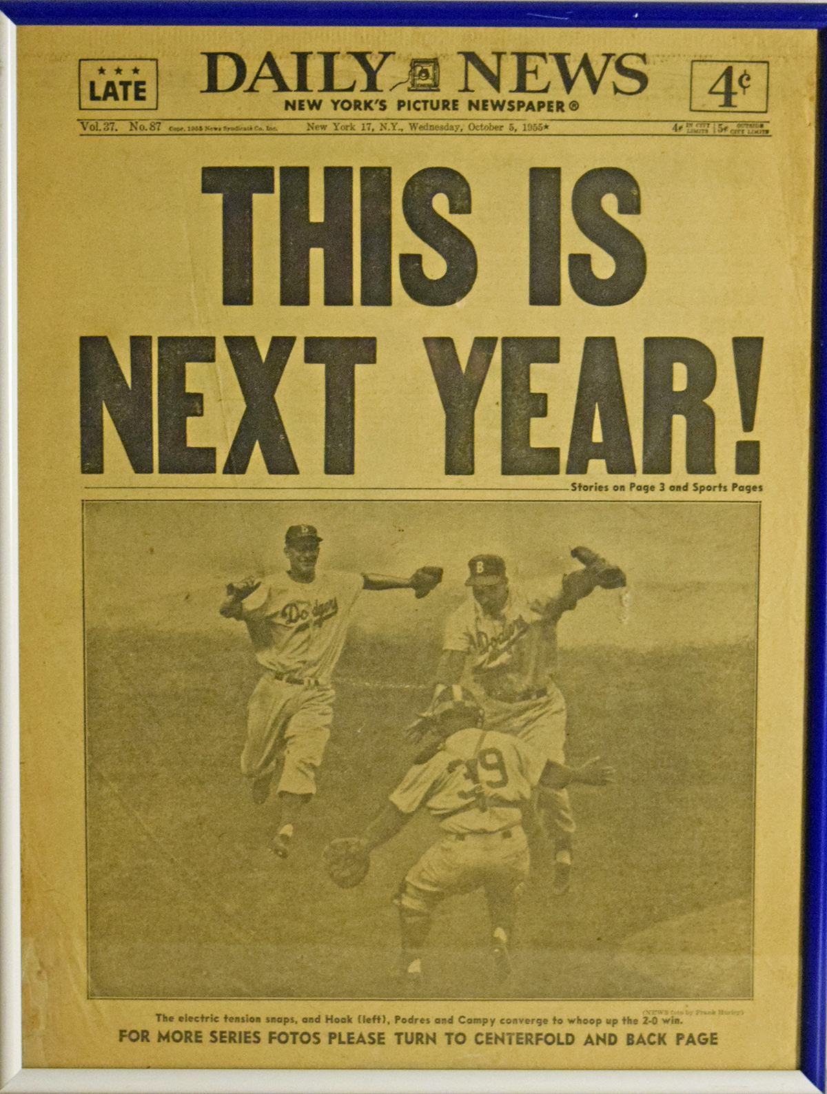 Lot #2349 1955   Brooklyn Dodgers World Championship Daily News Page (framed)