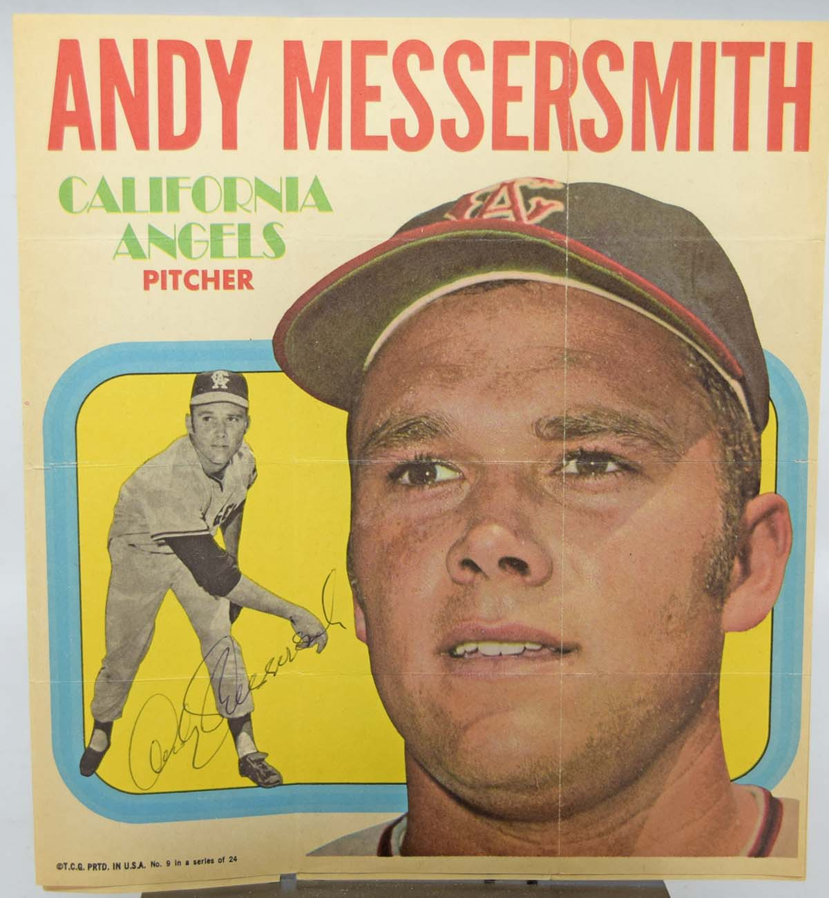 Lot #61 1970 Topps Posters  Andy Messersmith and Ollie Brown Cond: 9