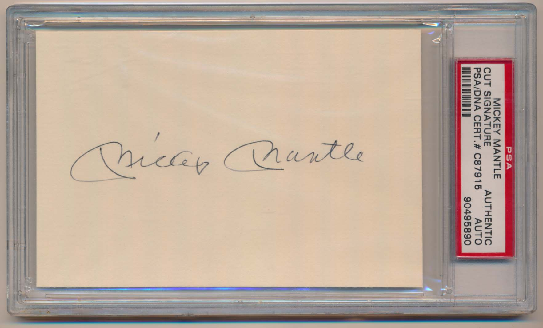 Lot #253  3 x 5  Mantle, Mickey (3.5 x 5.25) Cond: 8