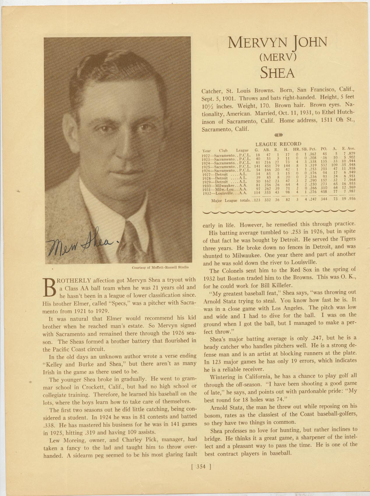 Lot #38  Who's Who Page  Shea, Merv (D'1953) Cond: 9.5