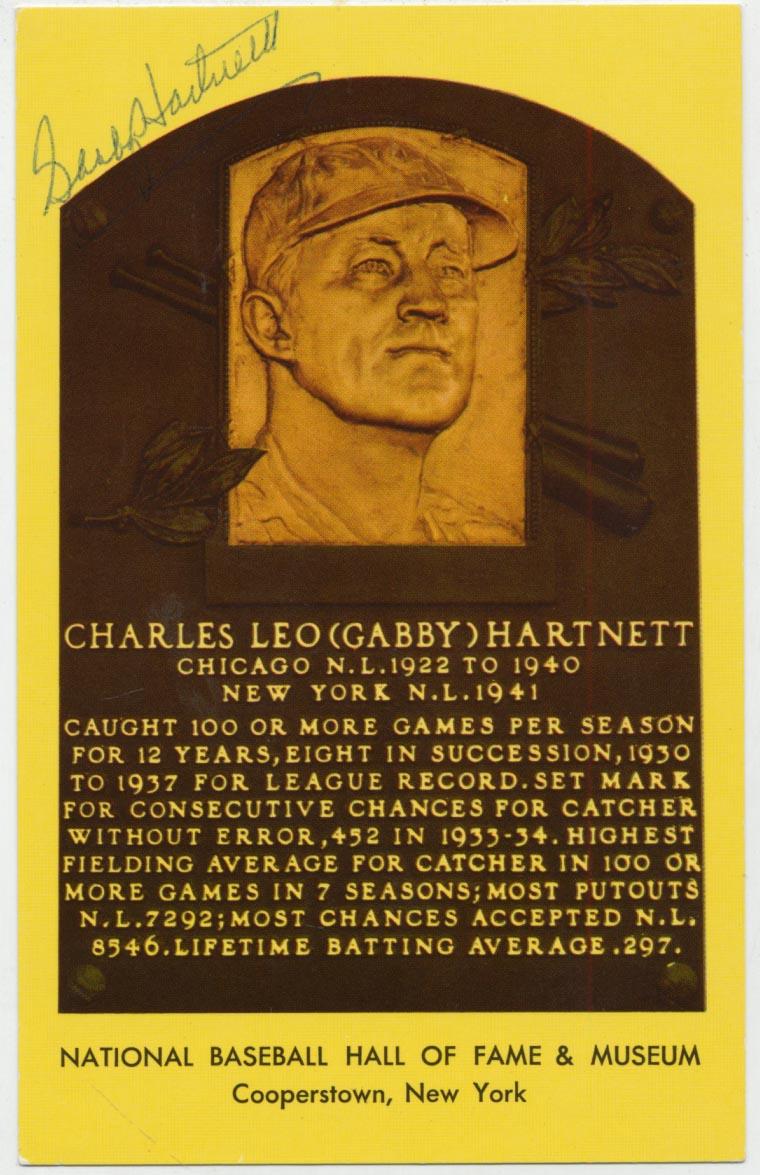 Lot #68  Yellow HOF Plaque  Gabby Hartnett Cond: 9