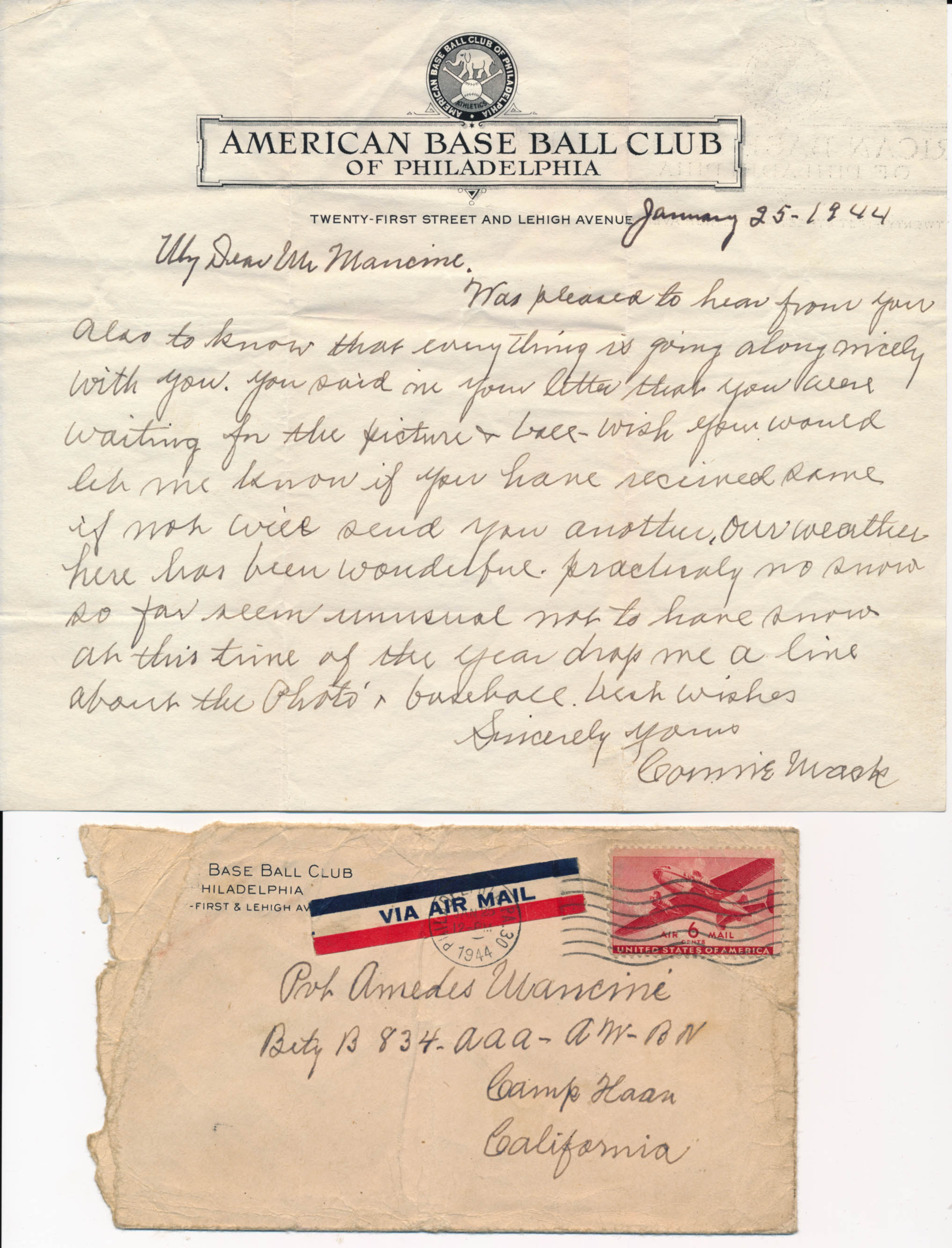 Lot #457  Letter  Mack, Connie Cond: 9