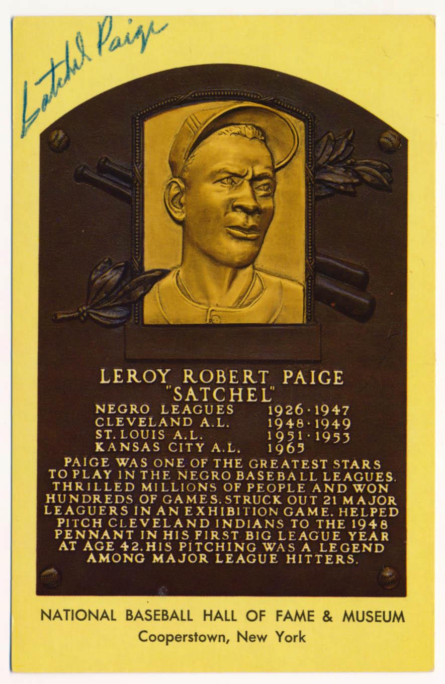 Lot #307  Yellow HOF Plaque  Satchel Paige Cond: 9