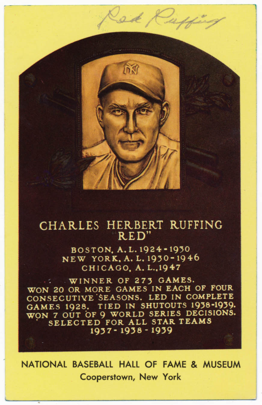 Lot #120  Yellow HOF Plaque  Red Ruffing Cond: 8