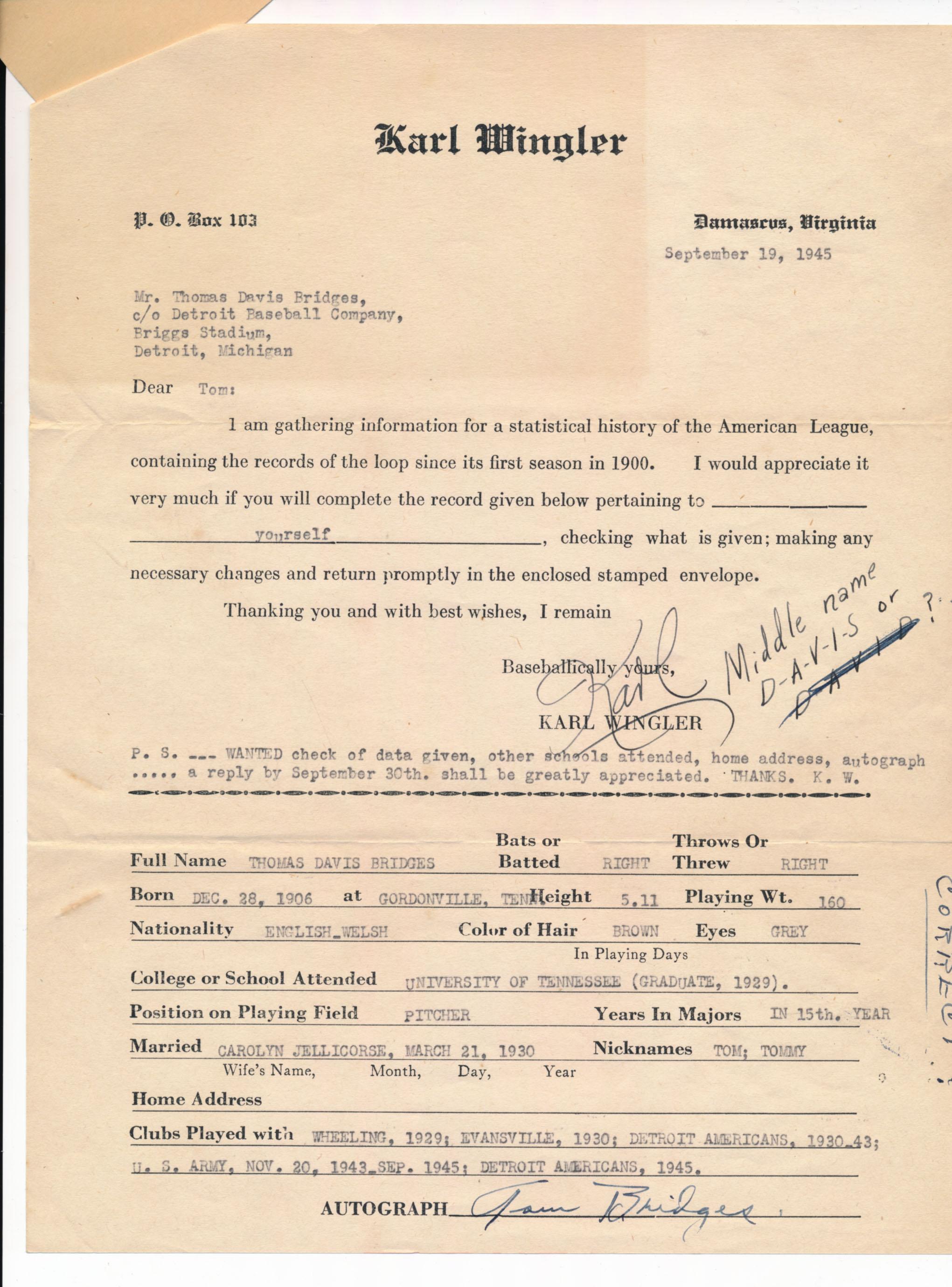 Lot #616  Document  Bridges, Tommy Signed Wingler Document Cond: 8