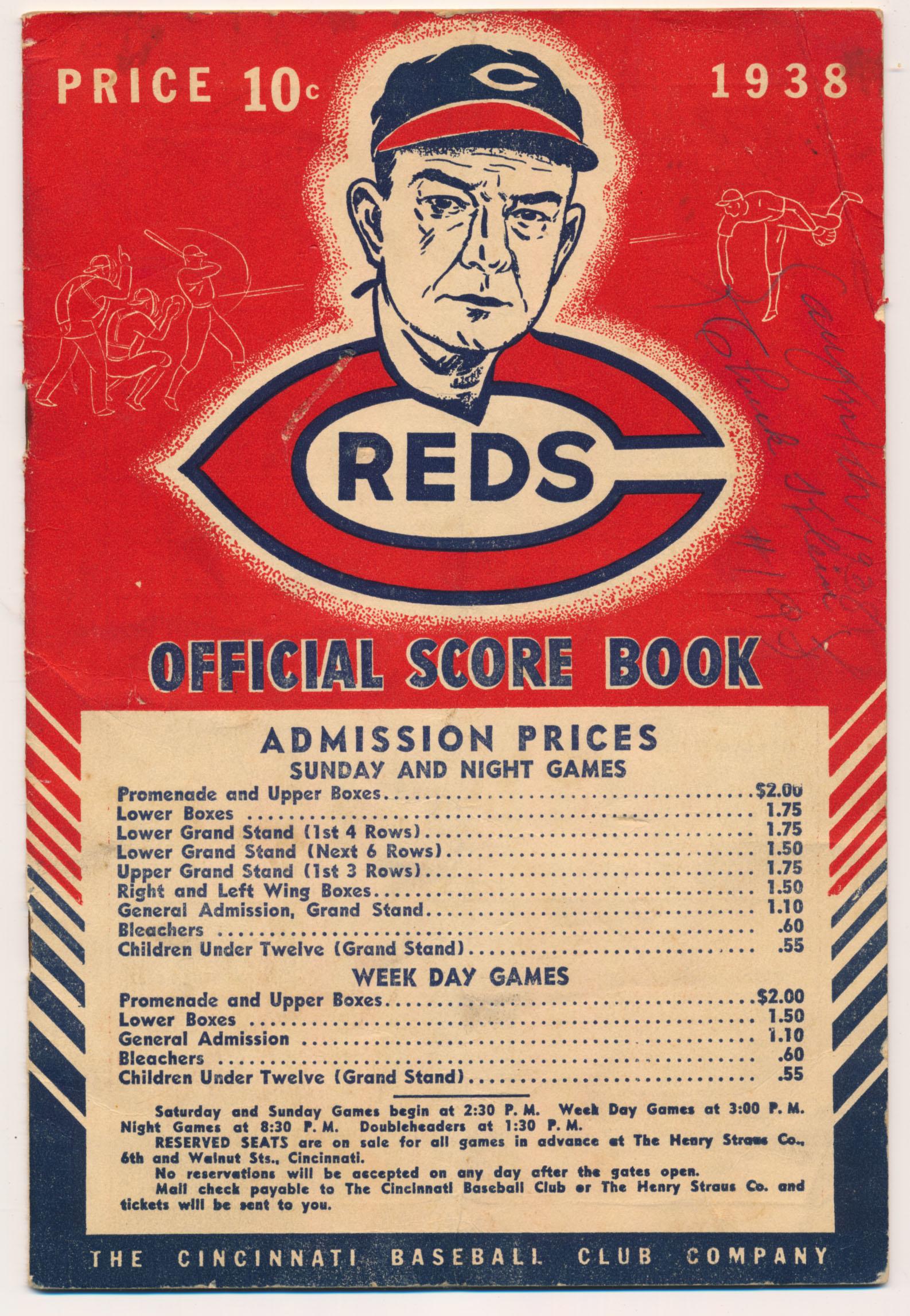 Lot #725  Program  Klein, Chuck Signed 1938 Reds Scorecard Cond: 8