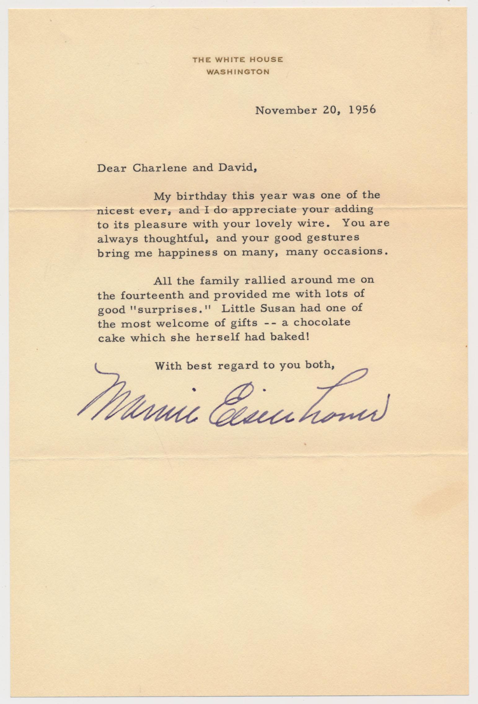 Letter  Eisenhower, Mamie 9.5