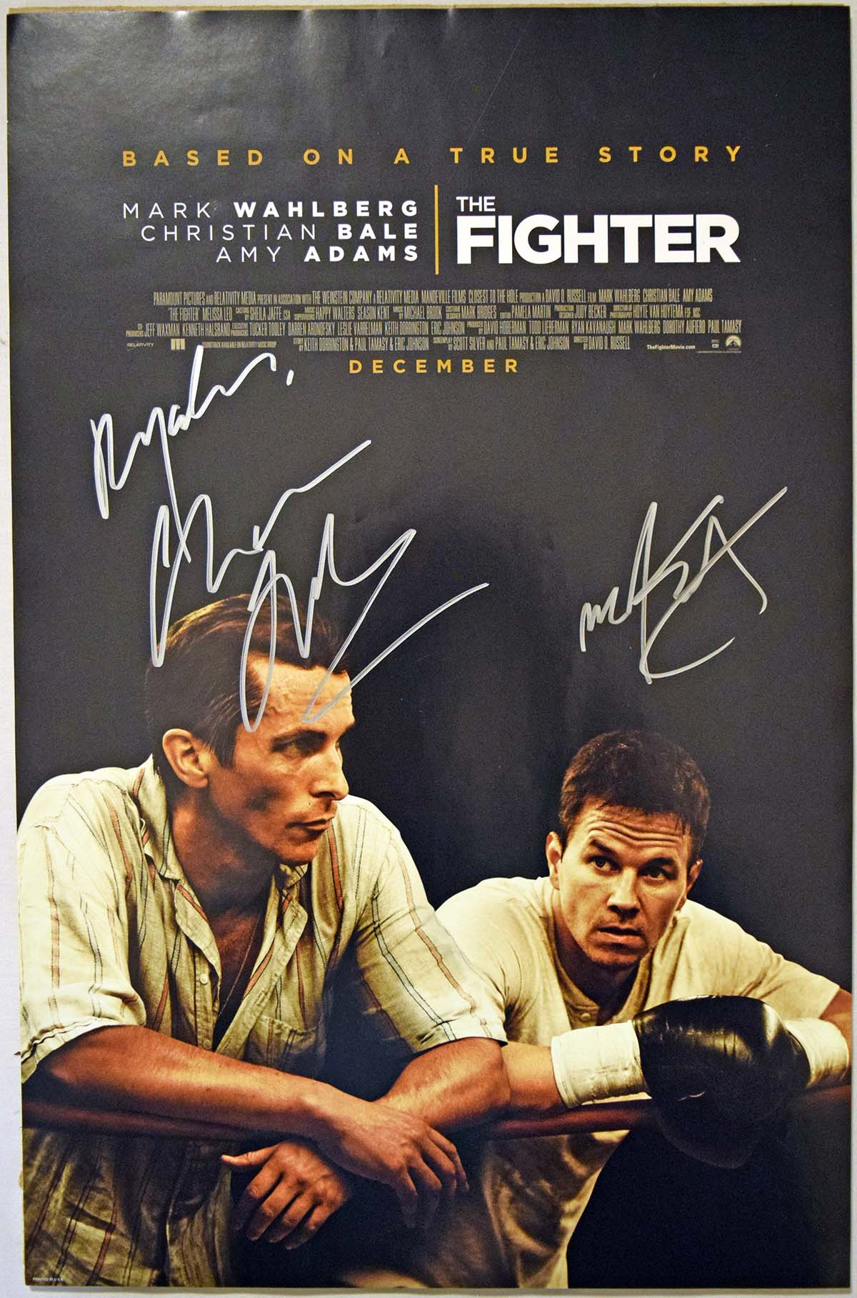 Lot #789    Bale/Wahlberg Signed/Framed The Fighter Small Poster (JSA LOAA) Cond: 9.5