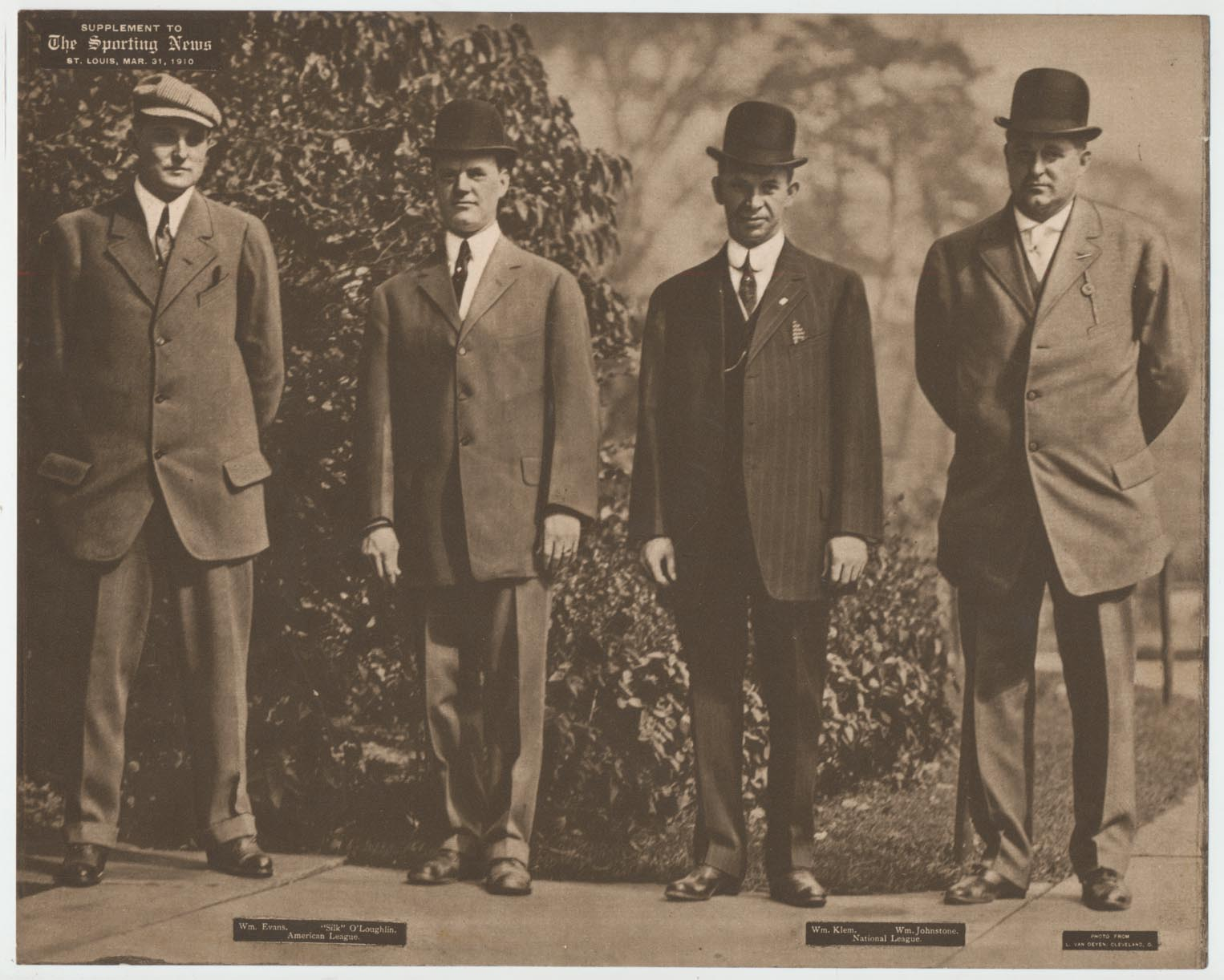 1911 M101-2 37 Wm. Evans, Silk OLoughlin, William Klem, Wm. Johnston (3/31) VG-Ex/Ex