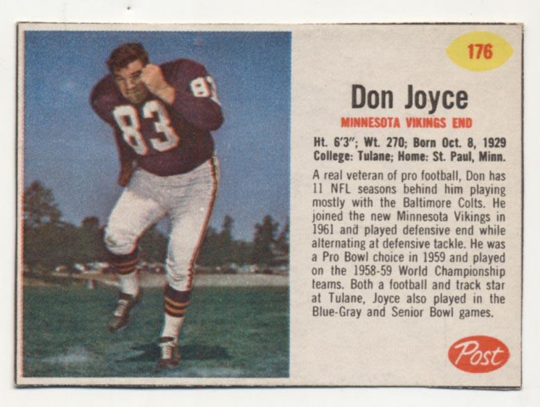 1962 Post Cereal 176 Joyce SP Ex-Mt