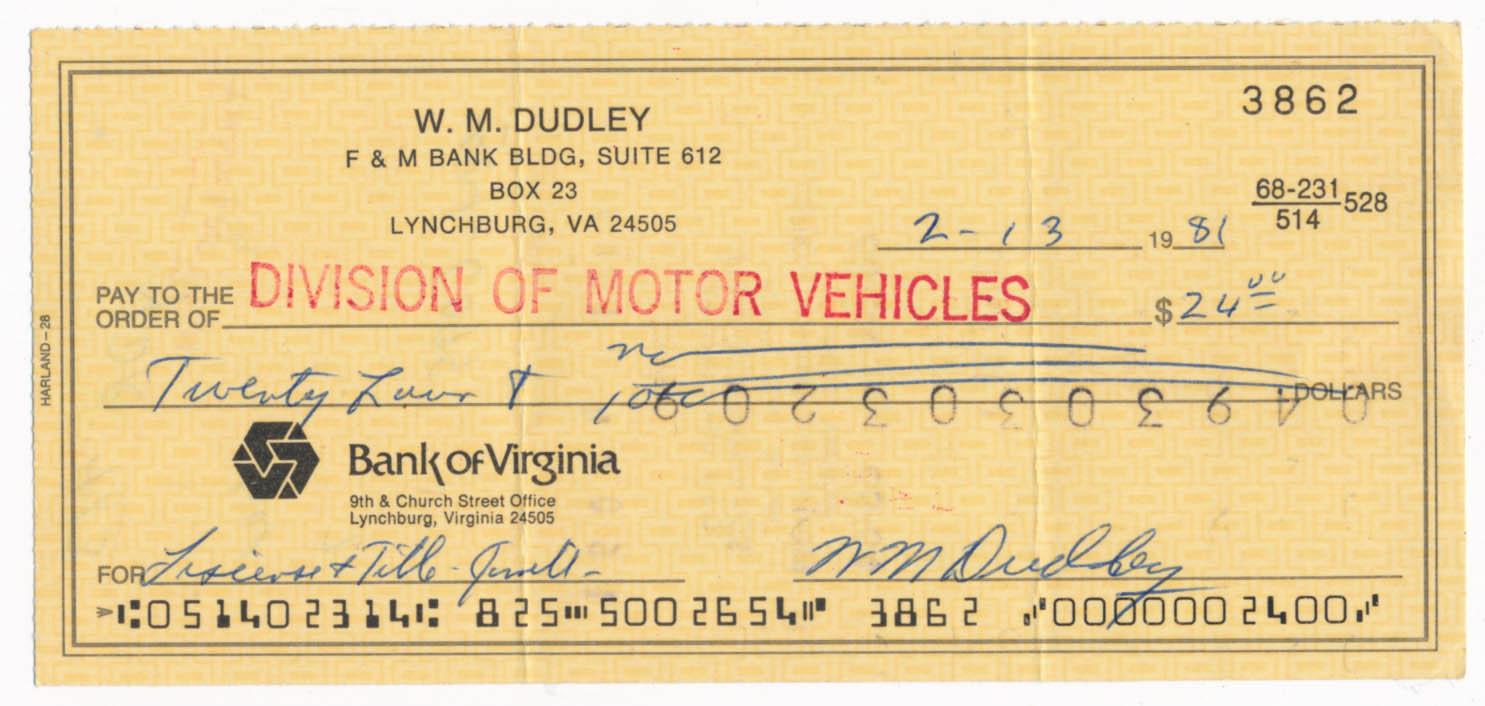 Lot #1623  Check  Dudley, Bill (JSA LOAA) Cond: 9.5