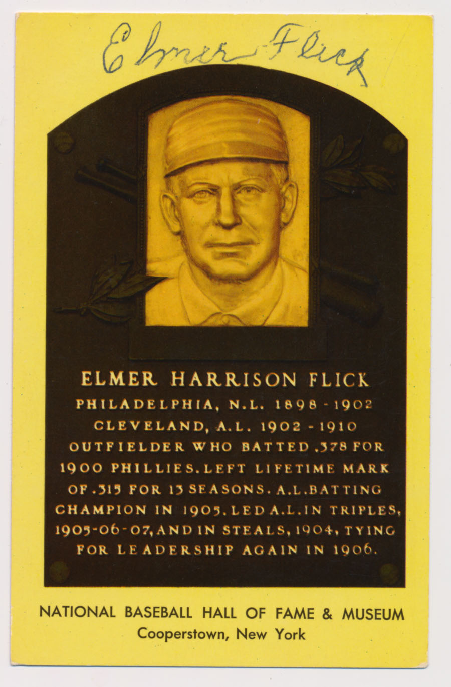 Lot #219  Yellow HOF Plaque  Elmer Flick Cond: 9