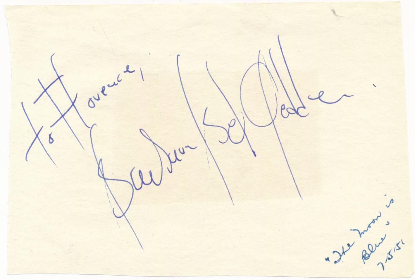 Lot #779  Album Page  Geddes, Barbara Bel (1951) (JSA LOAA) Cond: 9.5