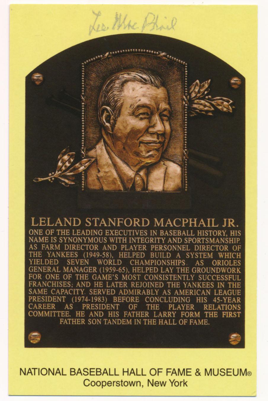 Yellow HOF Plaque 104 Lee MacPhail 5