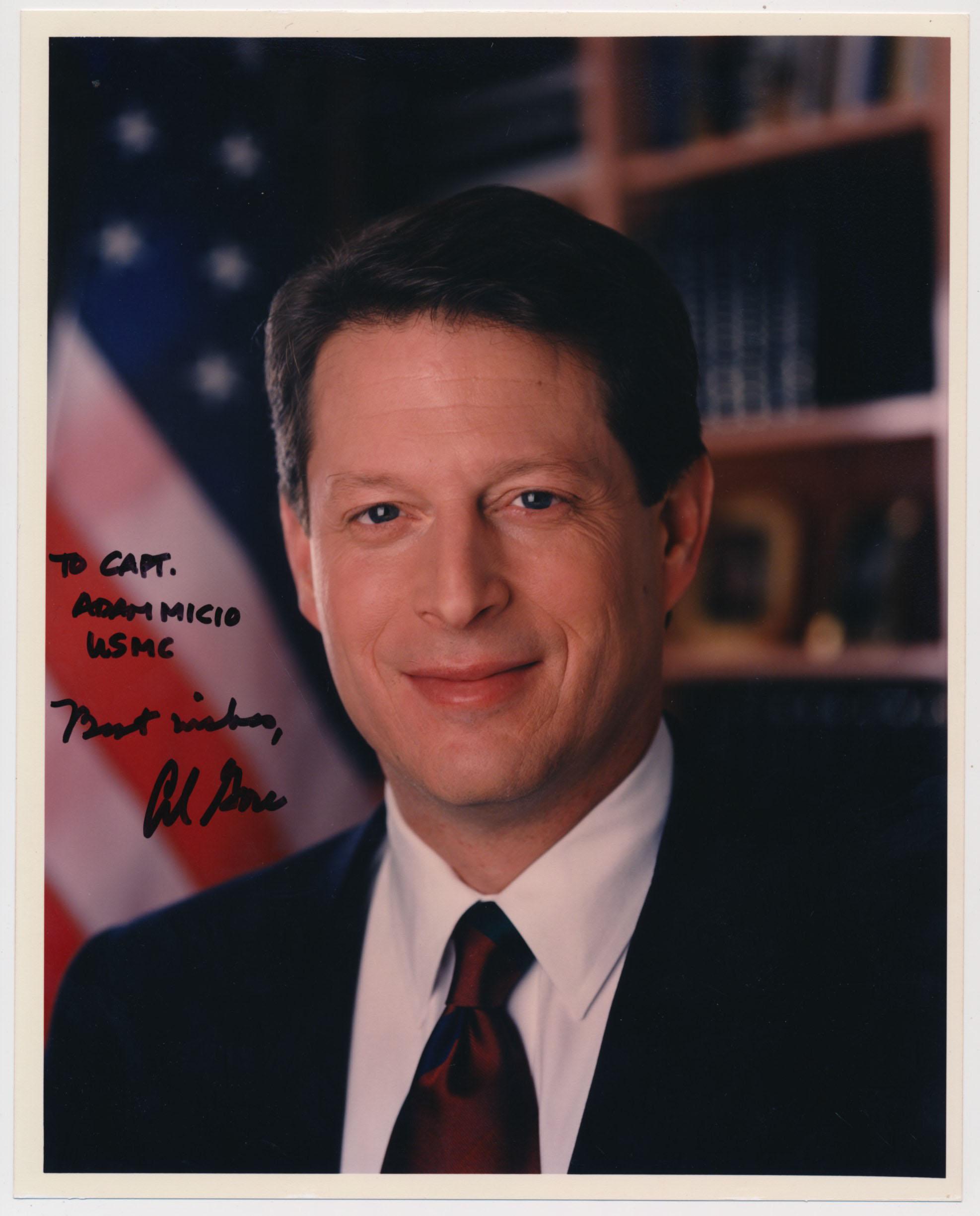 Lot #709     Gore, Al  Signed 8x10 (JSA LOAA) Cond: 9.5