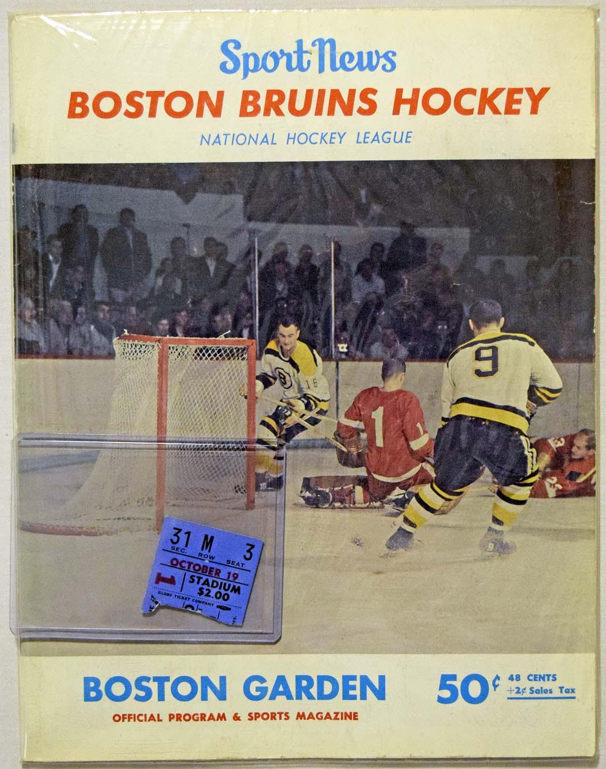 Lot #591 1966 Program  Bobby Orr First Game Program/Ticket (10/19/1966)