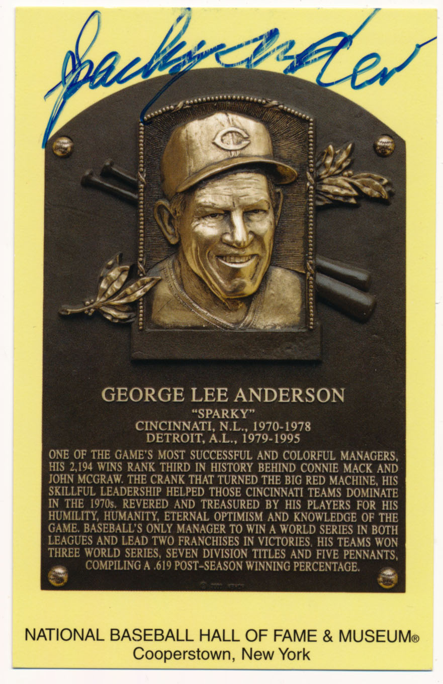 Yellow HOF Plaque 4 Sparky Anderson 7