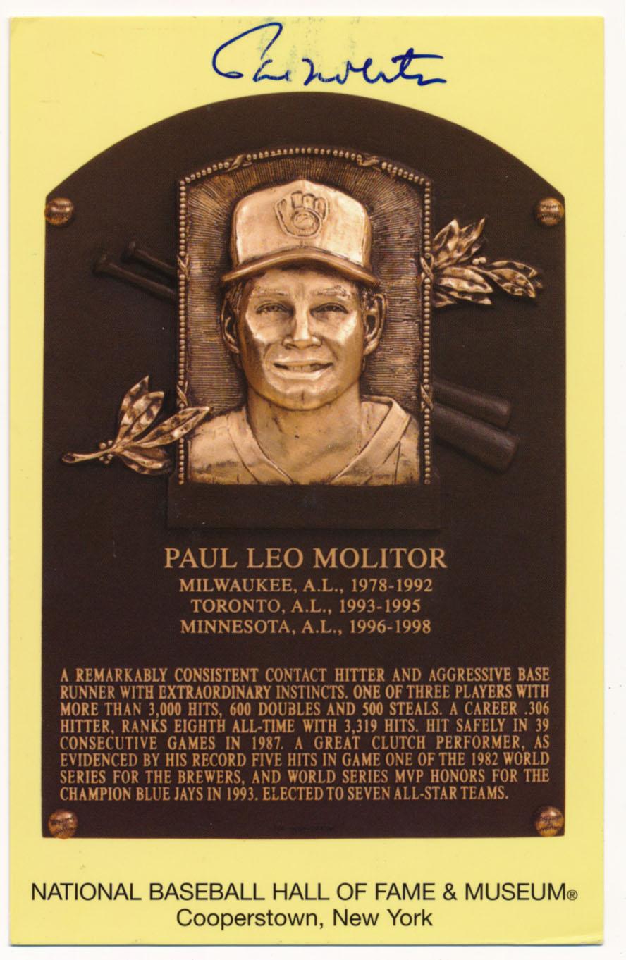 Yellow HOF Plaque 118 Paul Molitor 8