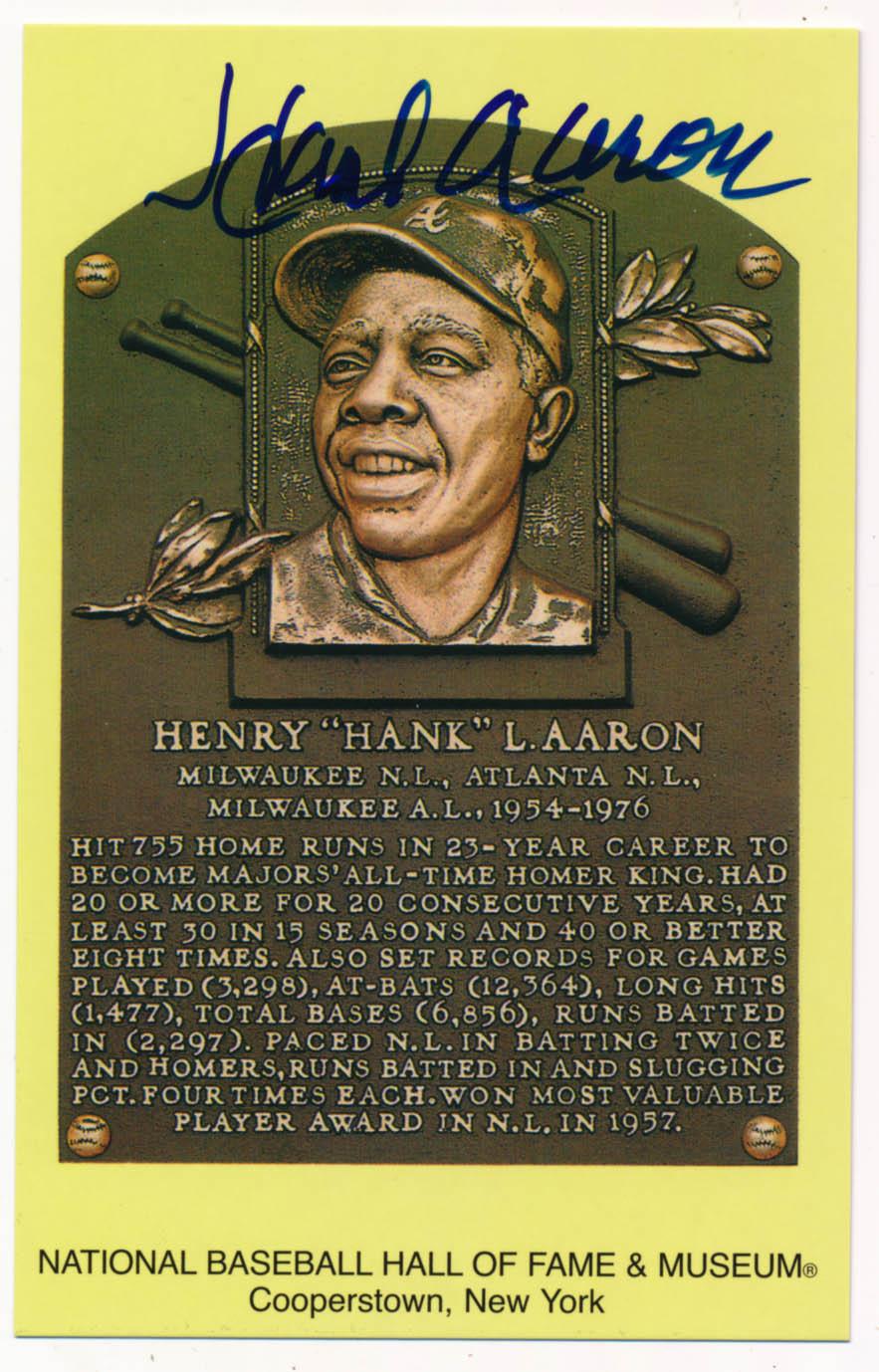 Lot #141  Yellow HOF Plaque # 1 Hank Aaron Cond: 9.5